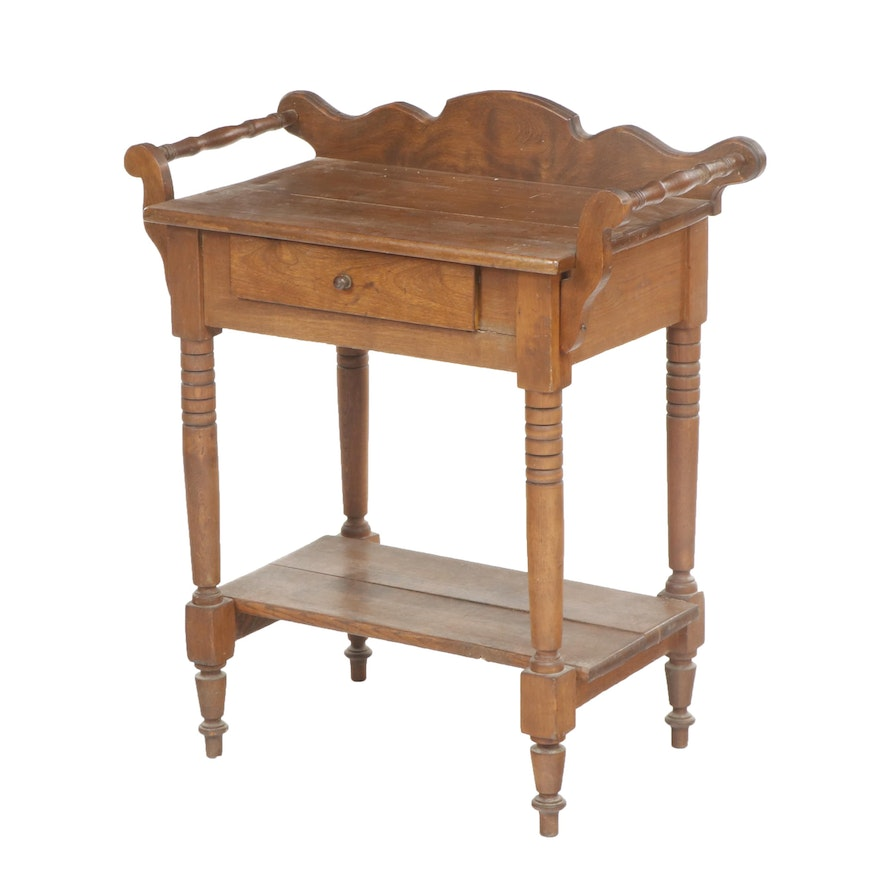 Victorian Walnut Wash Basin Stand, Mid to Late 19th Century