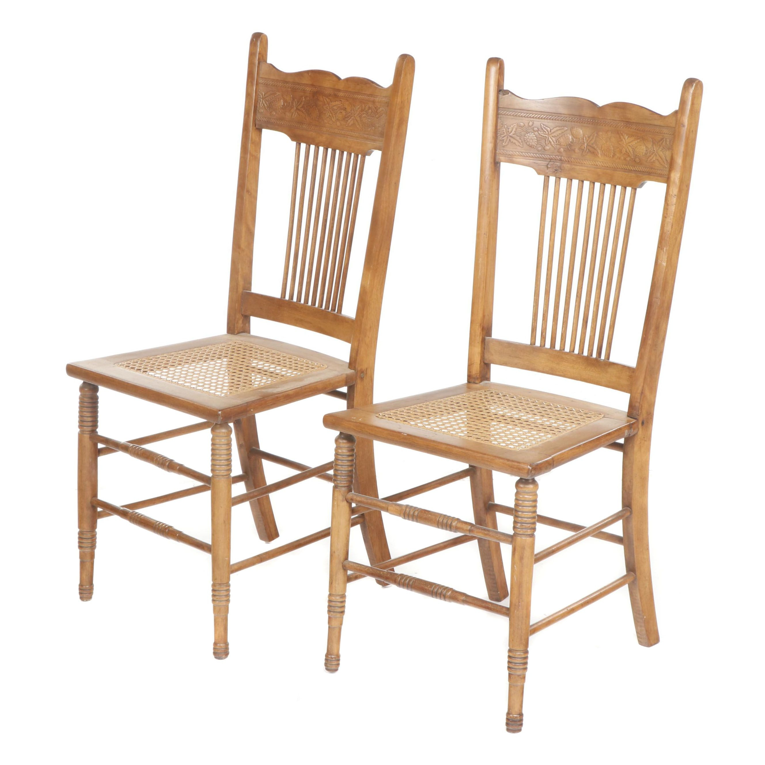 Pair of Late Victorian Press Back Wooden Side Chairs with Cane Seats