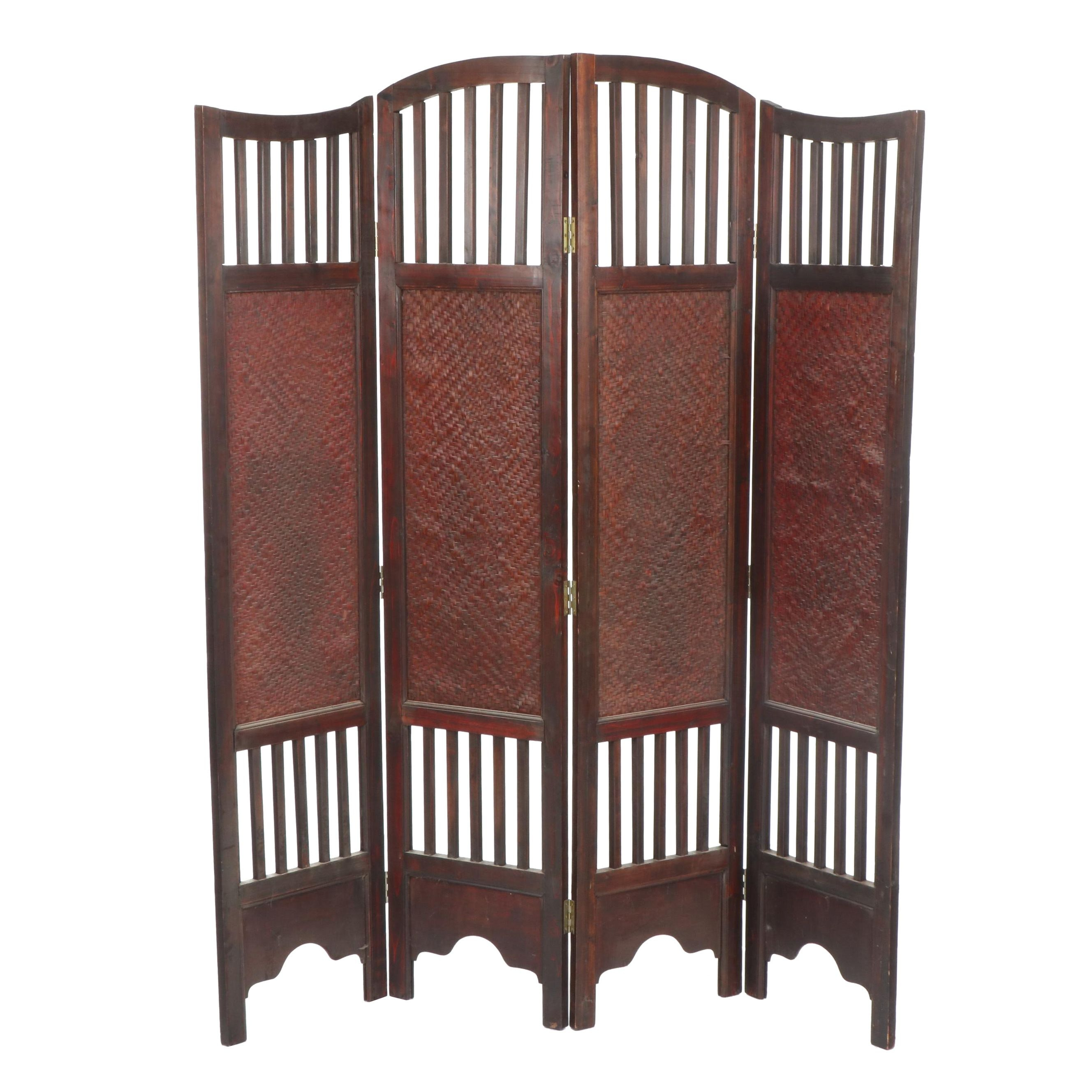 Cherry Stained Eastlake Style Wood and Cane Divider