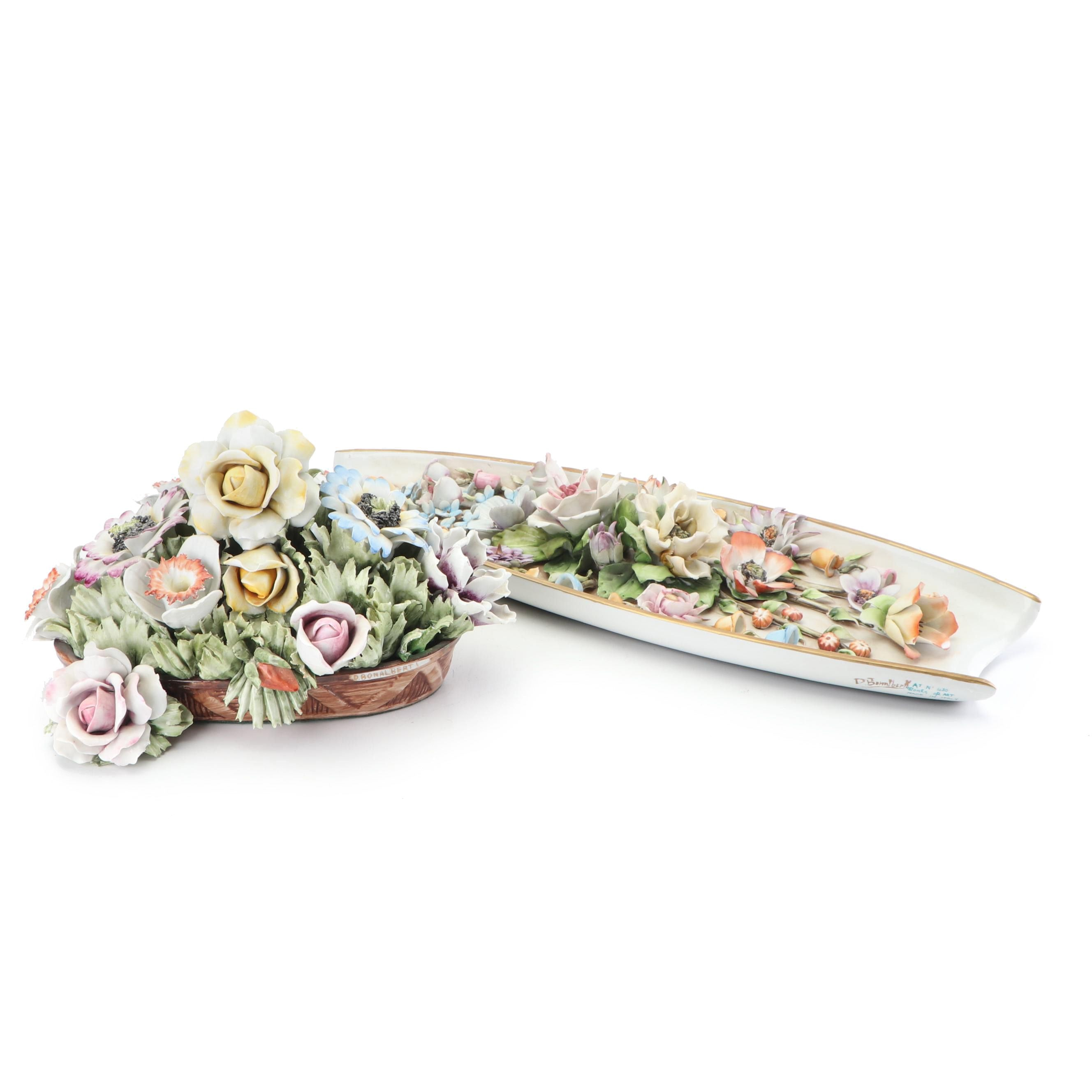 Italian Porcelain Floral Figurine and Plaque