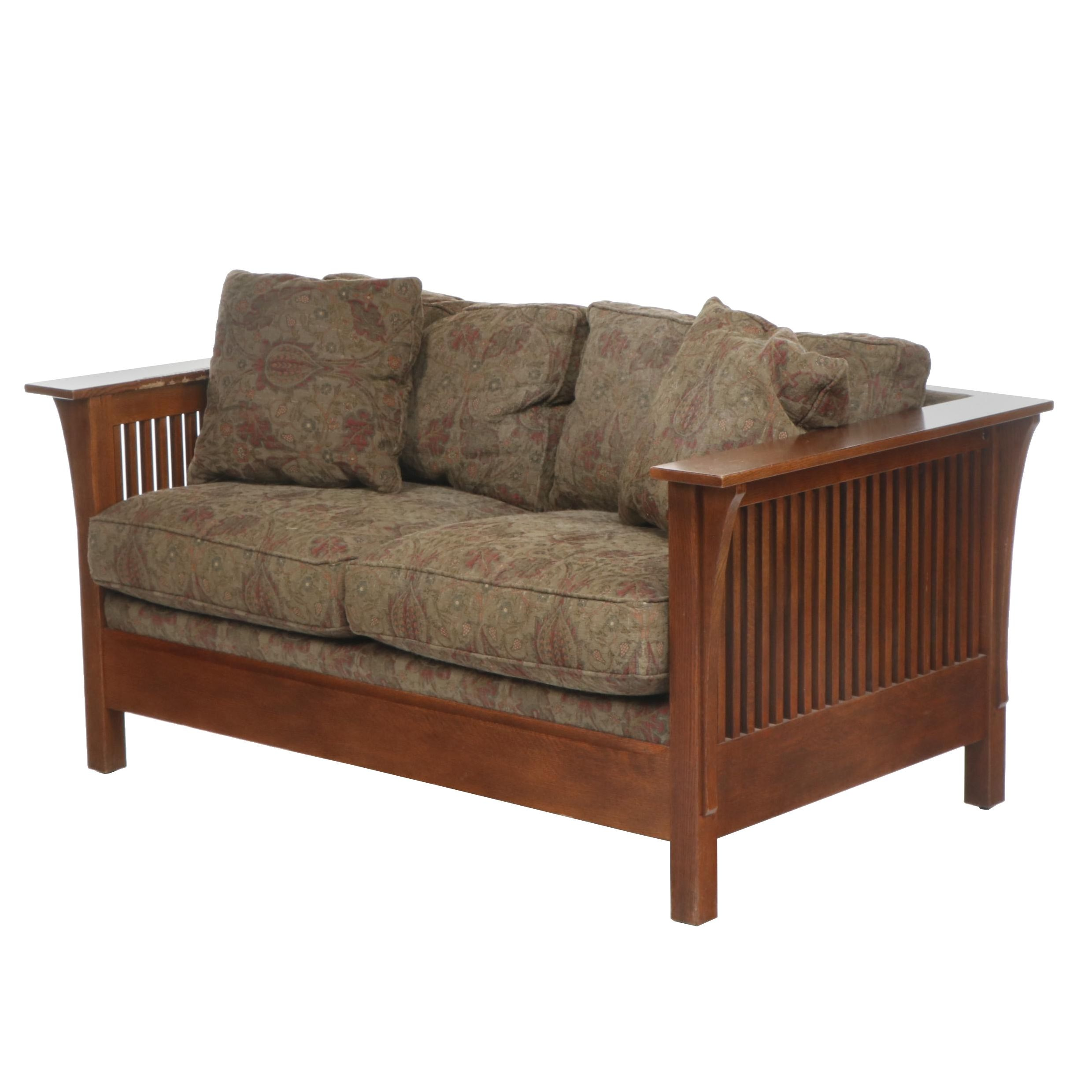 Contemporary Stickley Arts & Crafts Oak Upholstered Loveseat Sofa