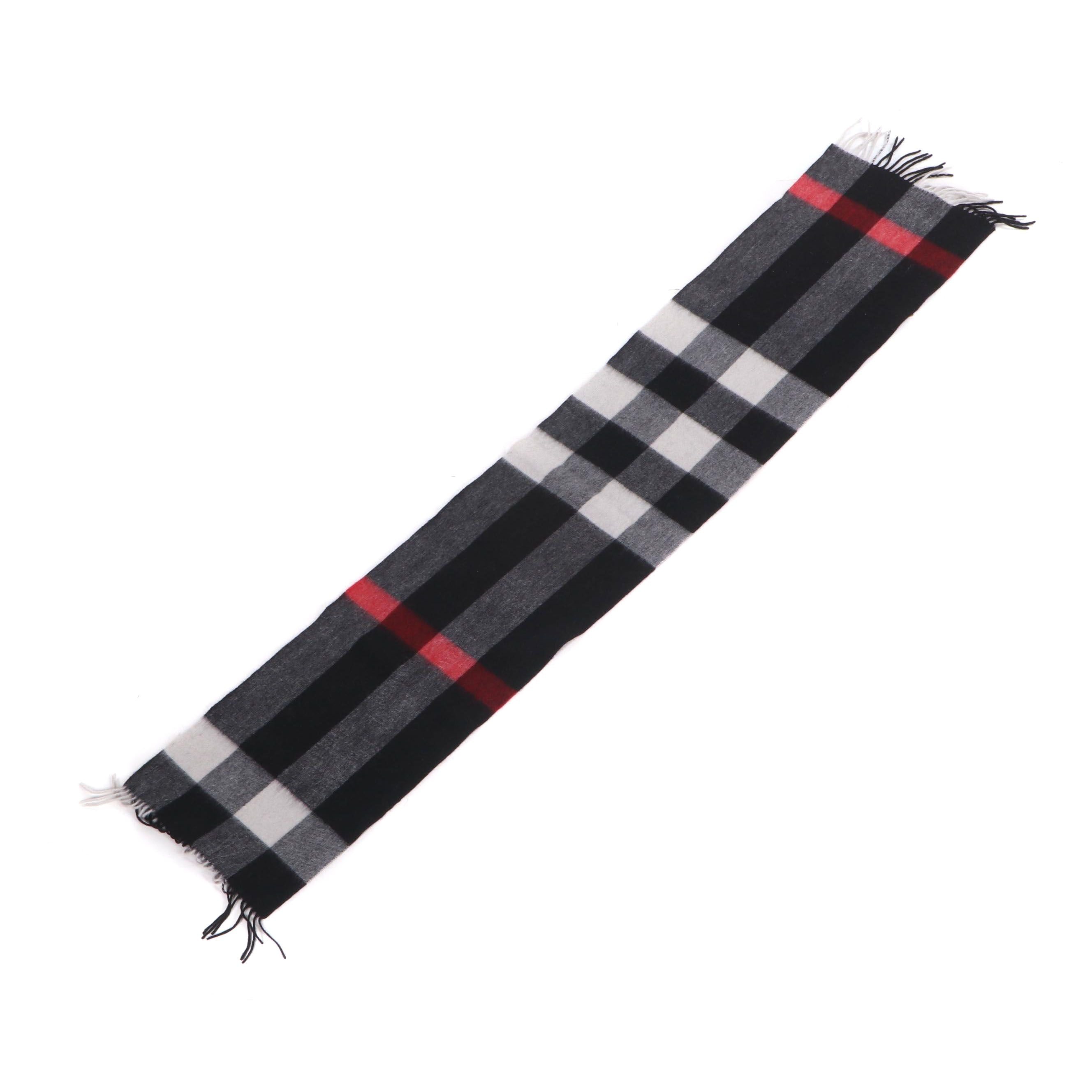 Burberry London Cashmere Scarf with Fringed Ends
