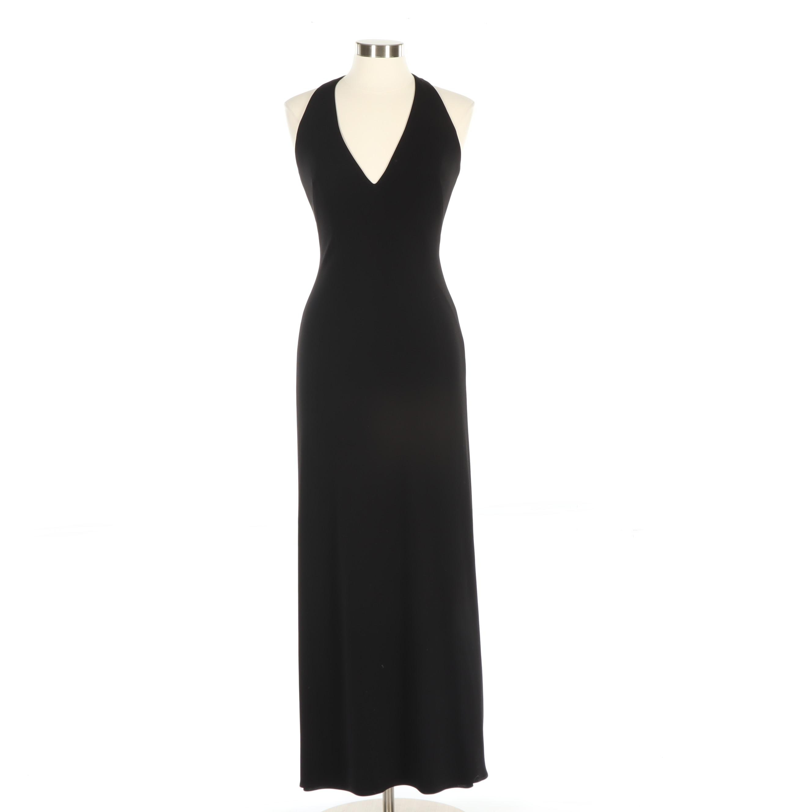 David Meister Evening Halter Dress with V-Cut Neckline and Beaded Tassel to Back