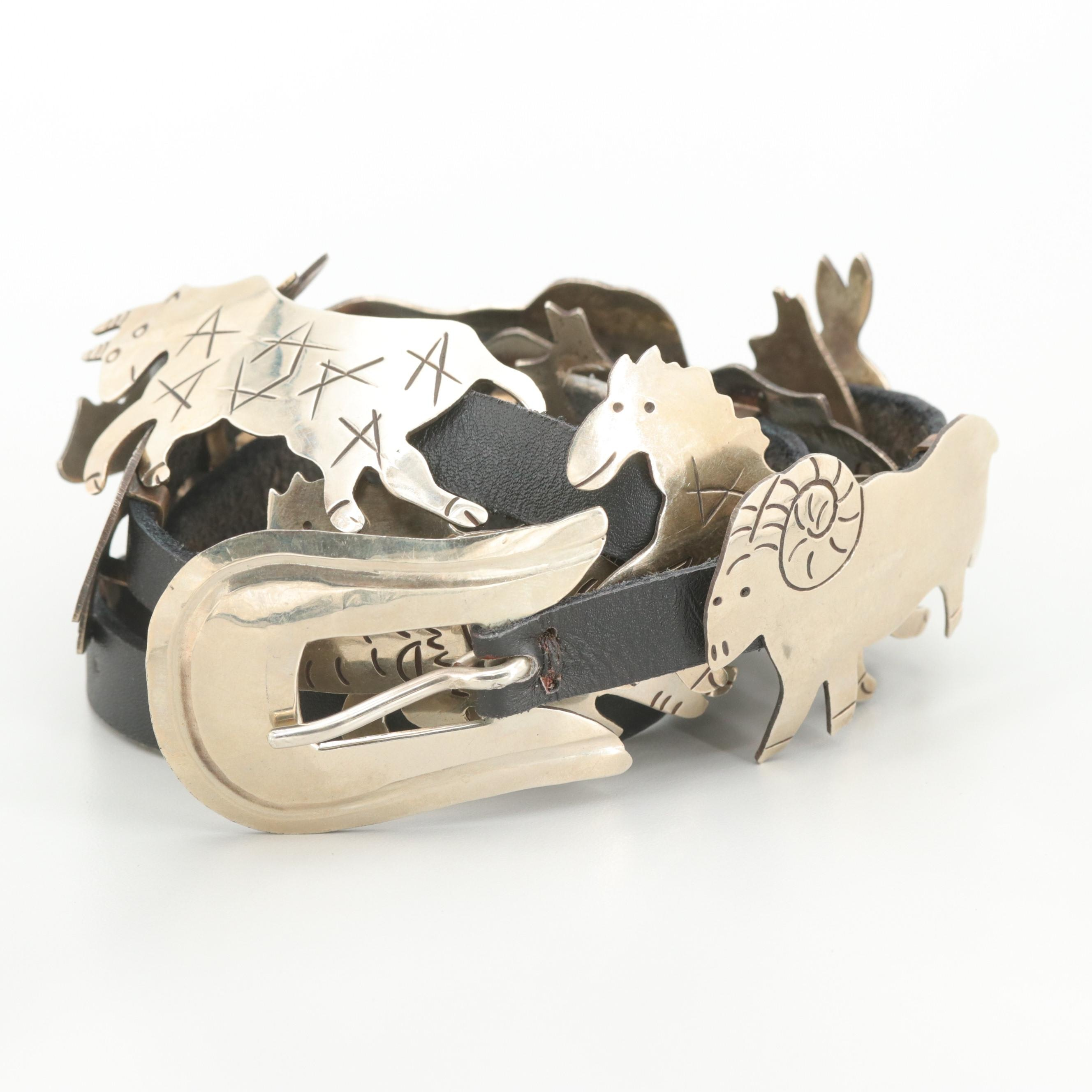 Alpaca Silver and Black Leather Belt in Animal Motif