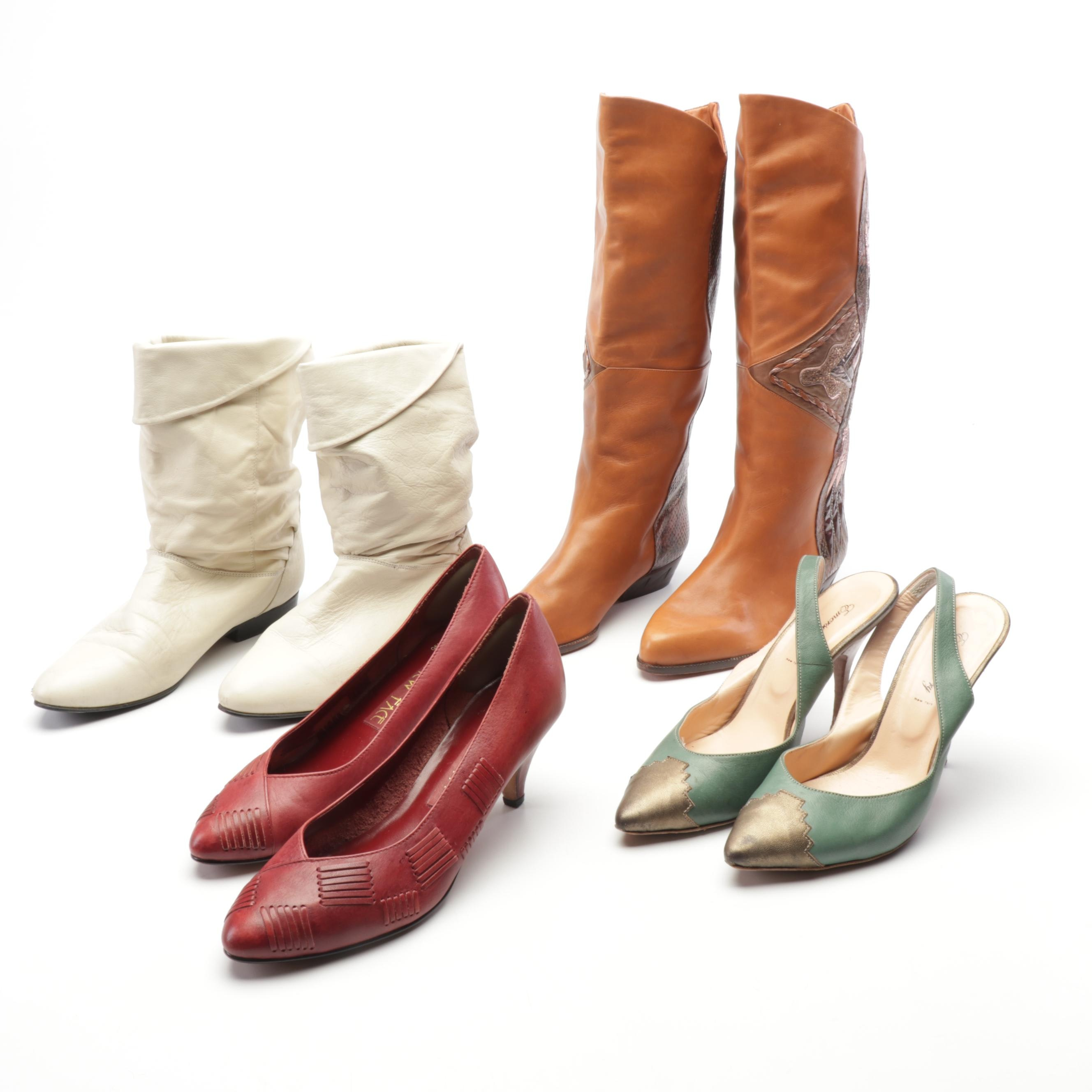 Italian Leather Boots and More, Featuring Emerson Fry High-Heeled Slingbacks