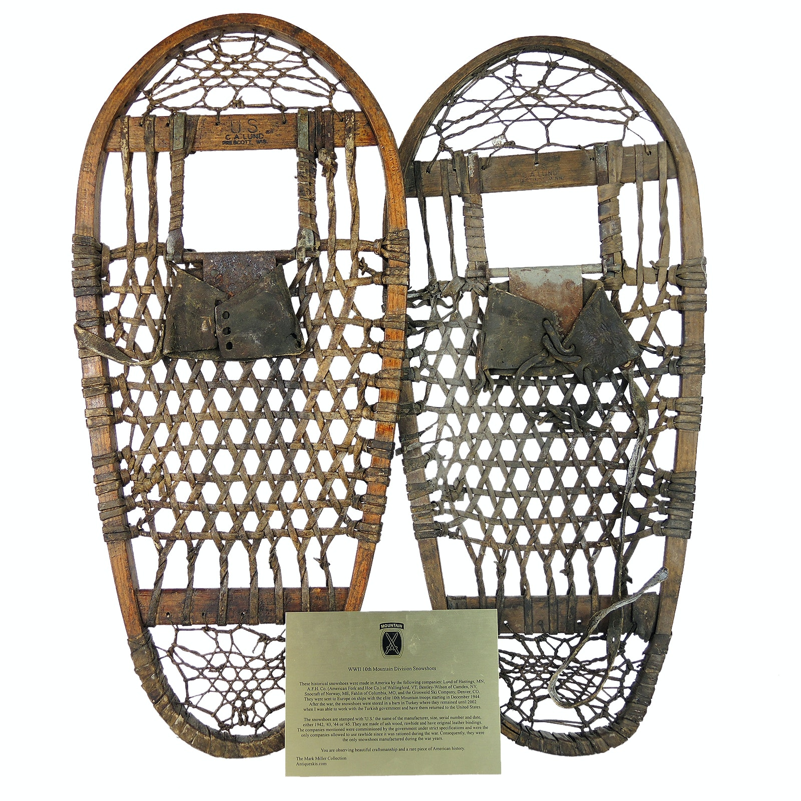WWII 10th Mountain Division C.A. Lund Snowshoes with Placard
