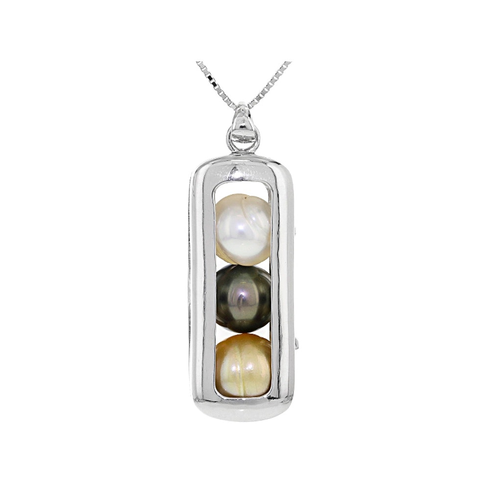 Sterling Silver Cultured Pearl Pendant with Chain