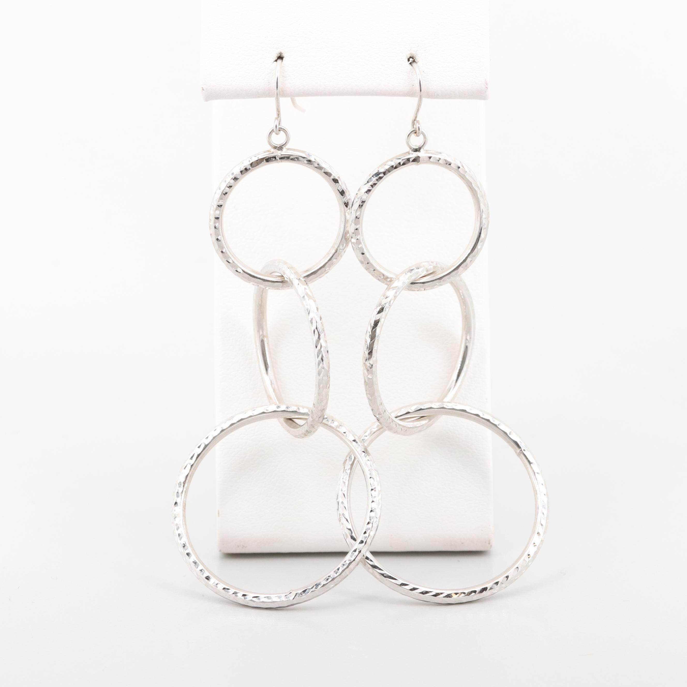 14K White Gold Textured Dangle Earrings