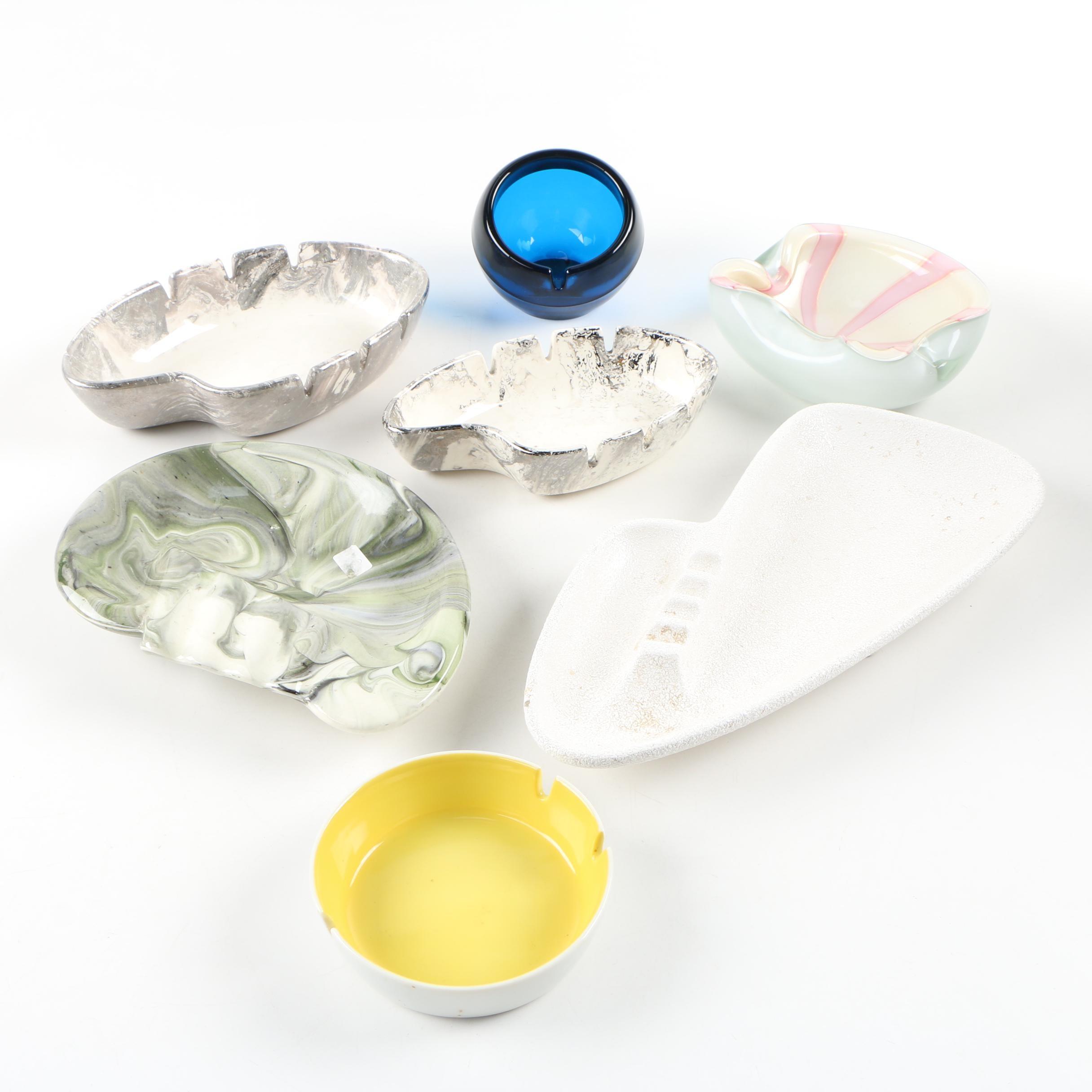 Ceramic and Art Glass Ashtrays Including Haeger