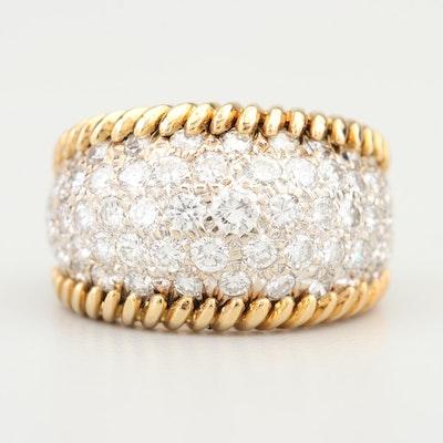 18K Yellow Gold 3.60 CTW Pave' Diamond Ring