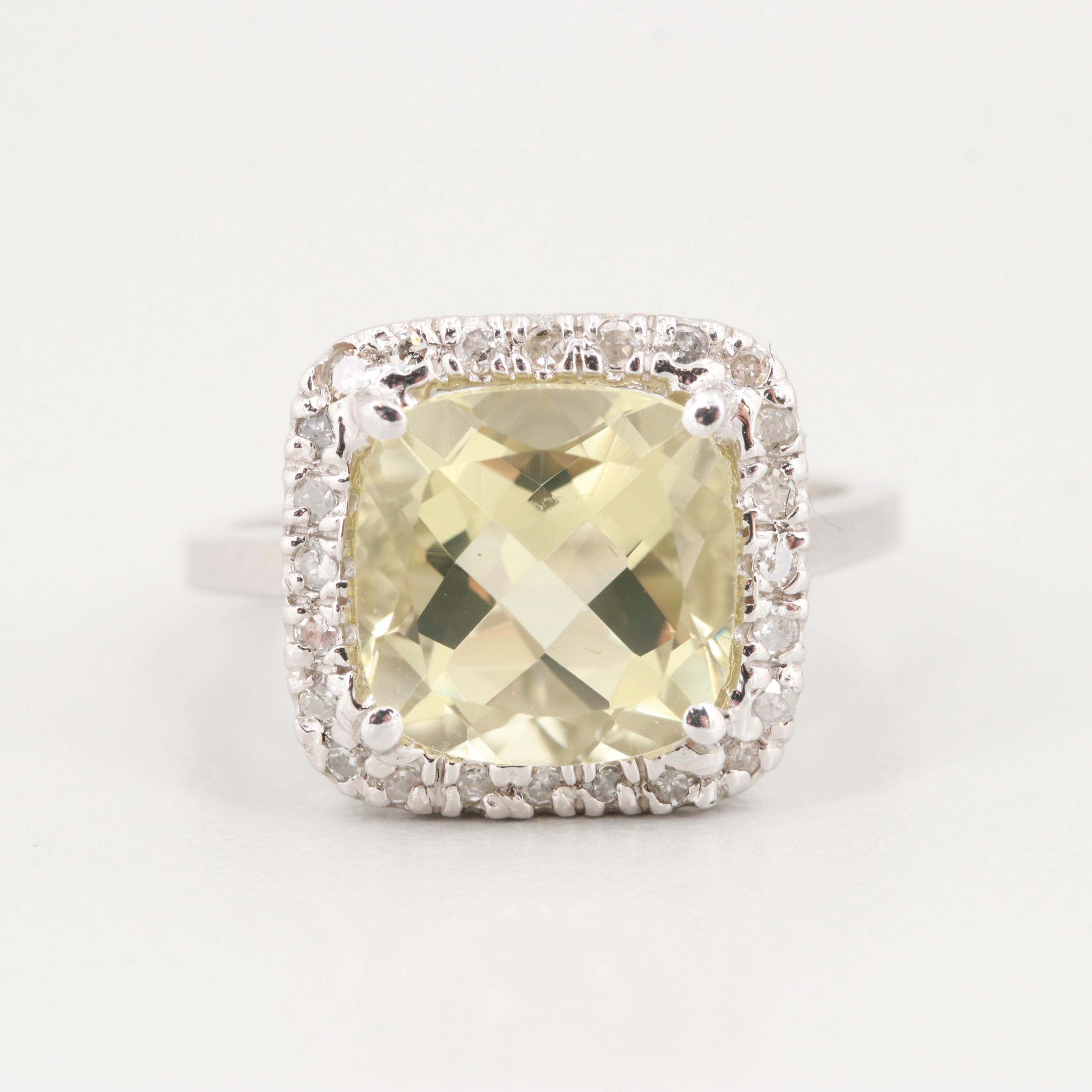 14K White Gold Citrine and Diamond Ring