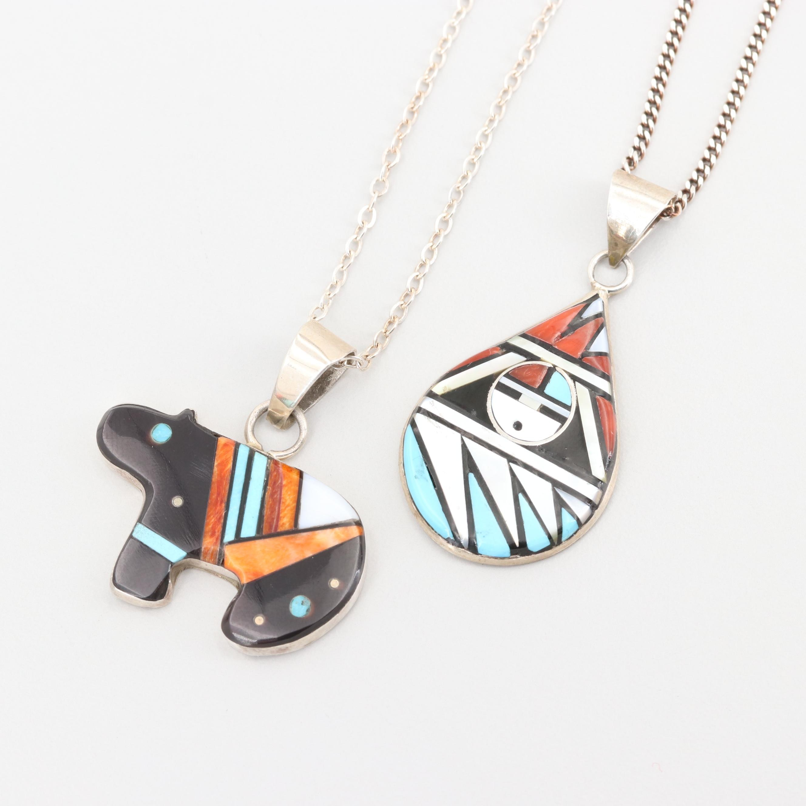 Southwestern Sterling Spiny Oyster, Turquoise and Mother of Pearl Necklaces