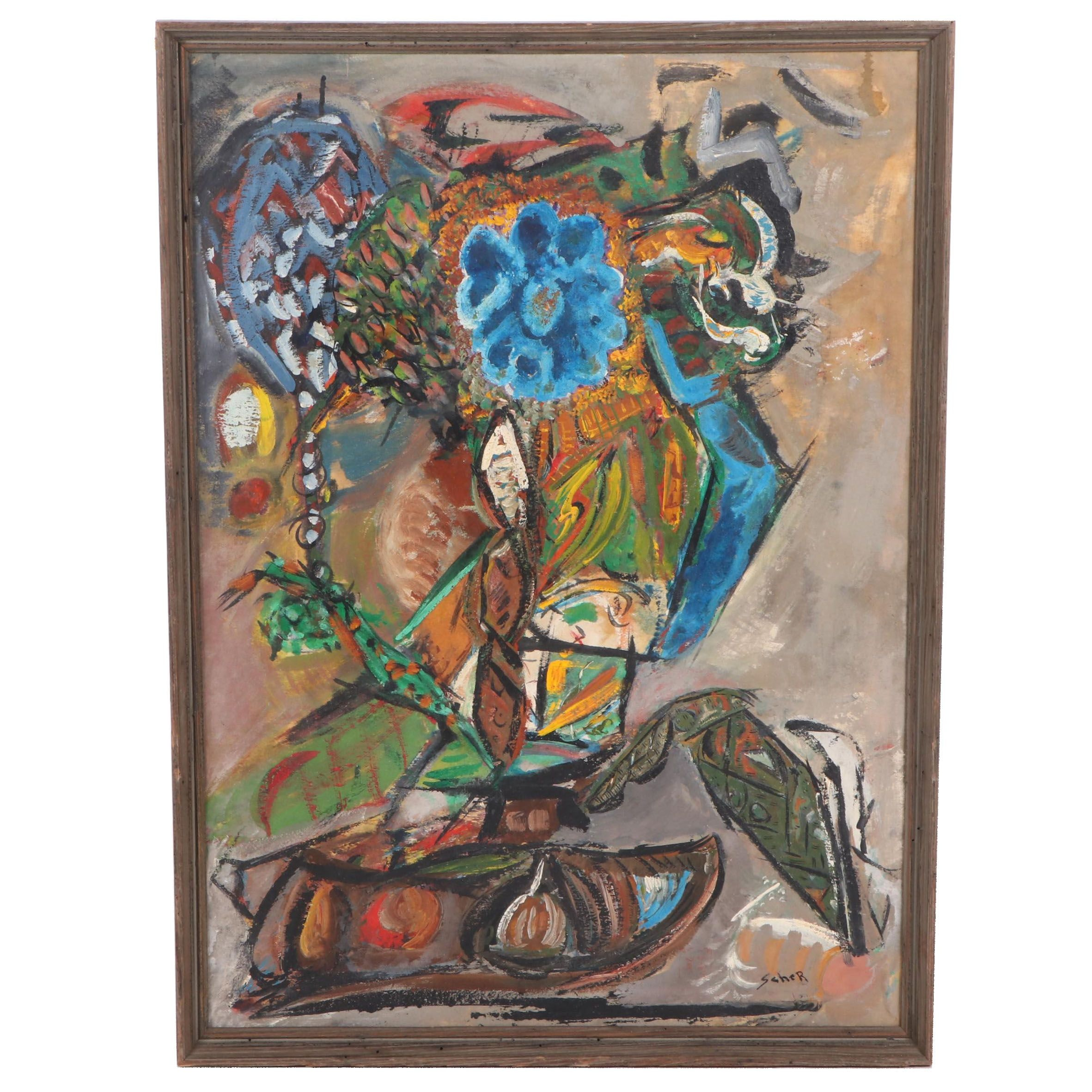 William Scher Abstract Still Life Oil Painting