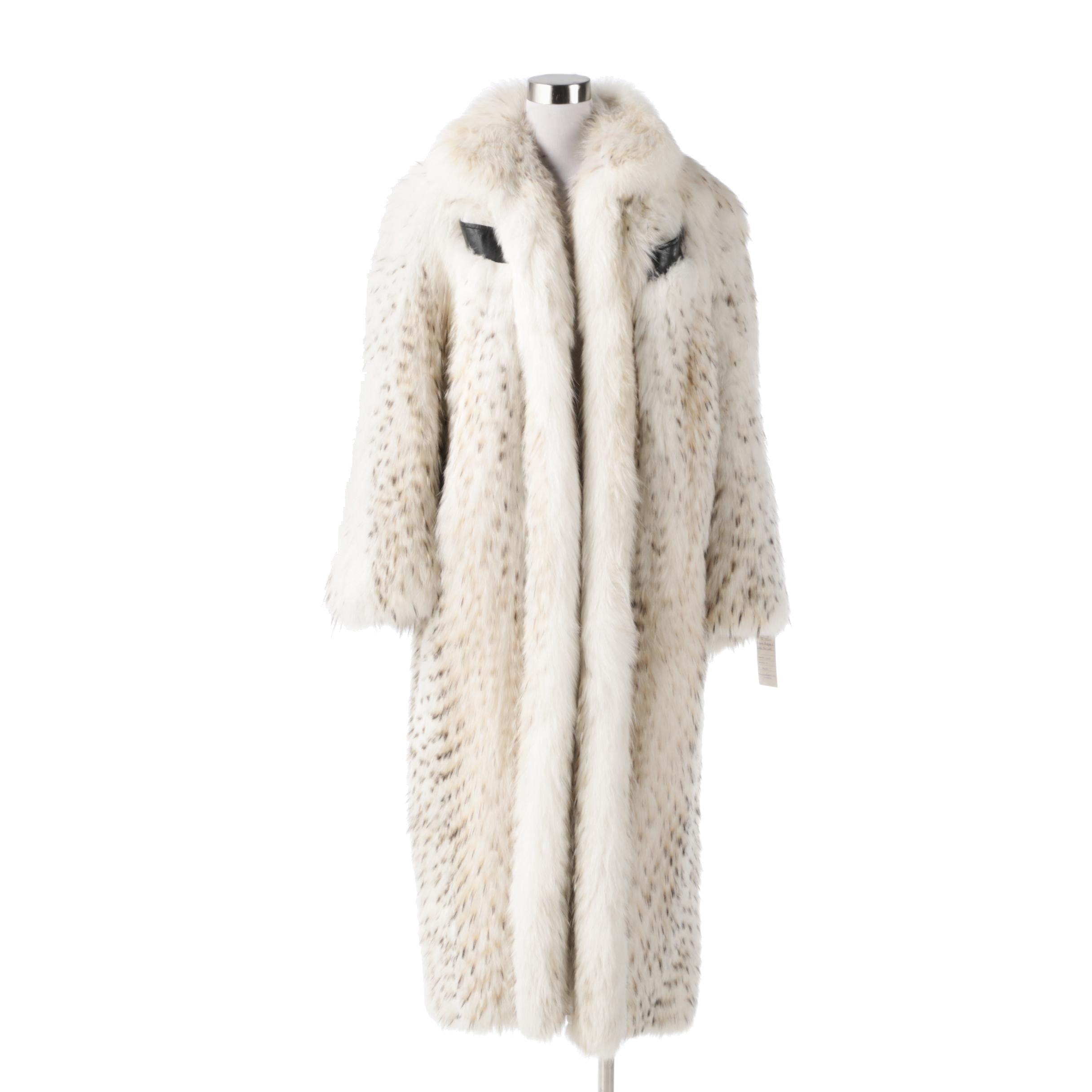 Women's Pieced Natural Badger Fur and Norwegian White Fox Fur Coat