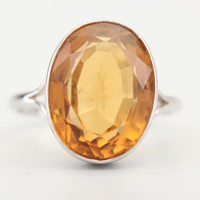 9K White Gold 9.00 CT Citrine Ring