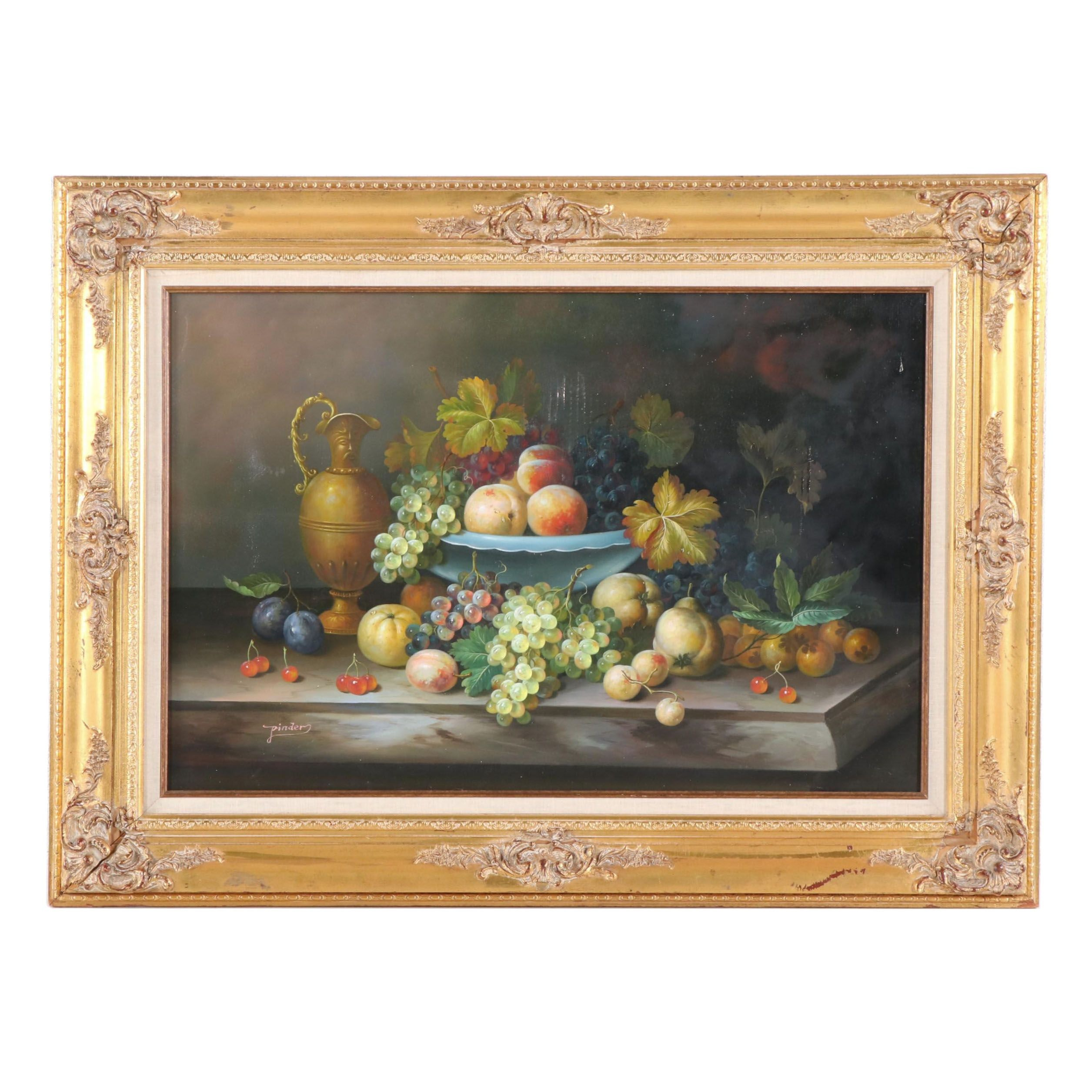 Pinder Still Life Oil Painting with Fruit
