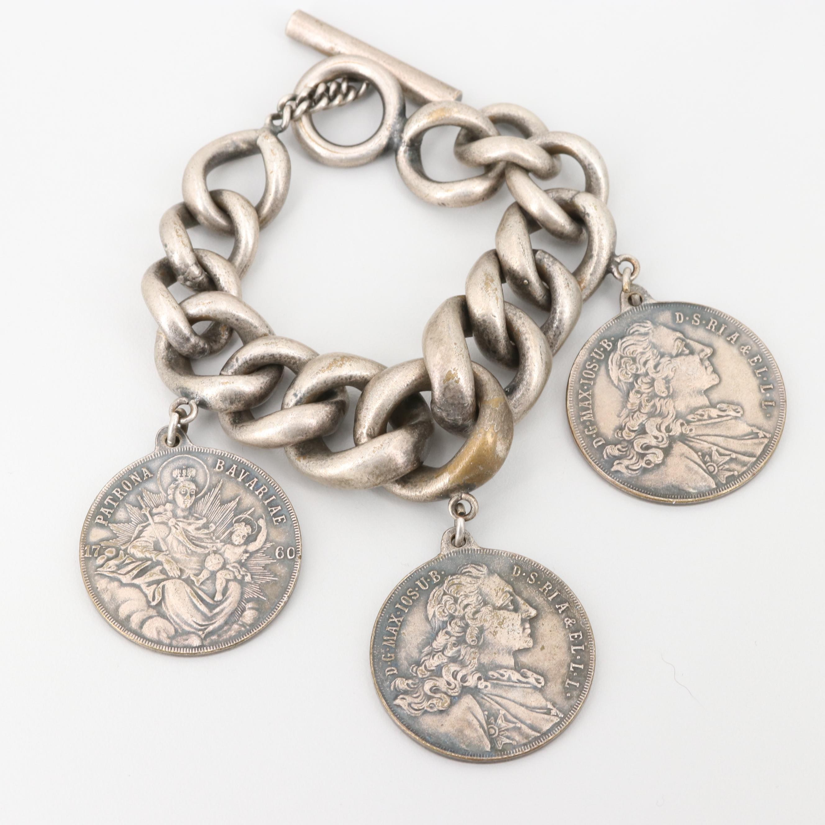 Link Bracelet with Reproduction of Bavarian 1-Konventionsthaler Coins