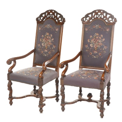Pair of Carved Walnut Baroque Style Armchairs with Needlepoint Upholstery