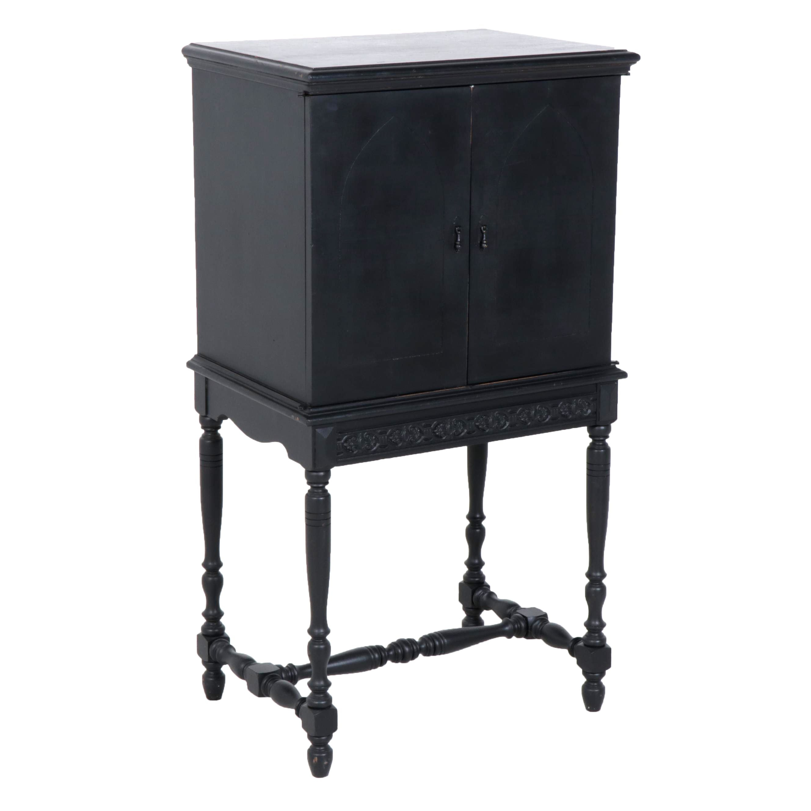 Colonial Revival Black-Painted Wooden Chest on Stand, Mid-20th Century