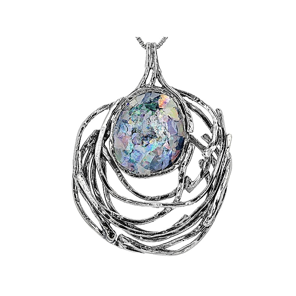 Sterling Silver Glass Pendant with Chain