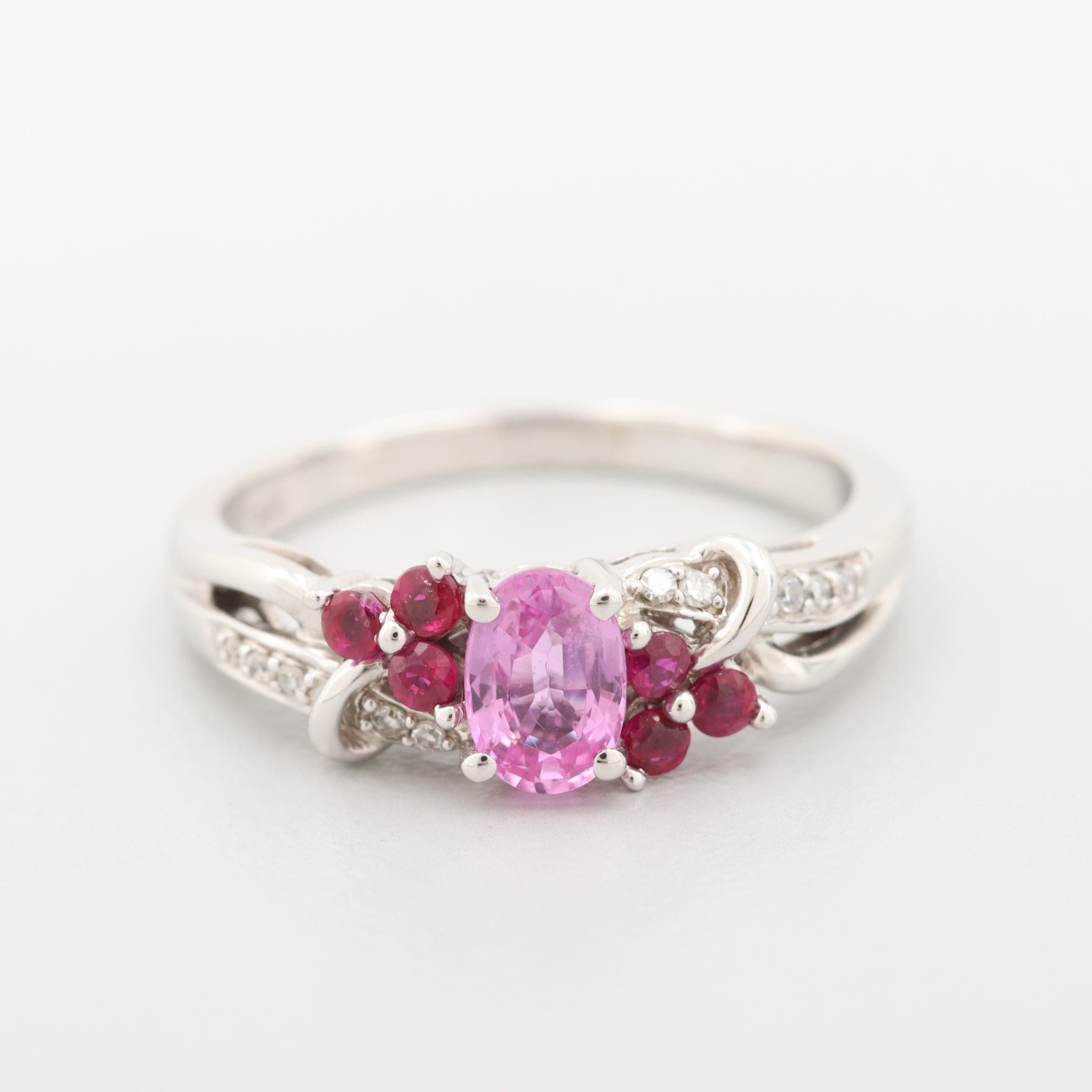 18K White Gold Pink Sapphire, Diamond and Ruby Ring