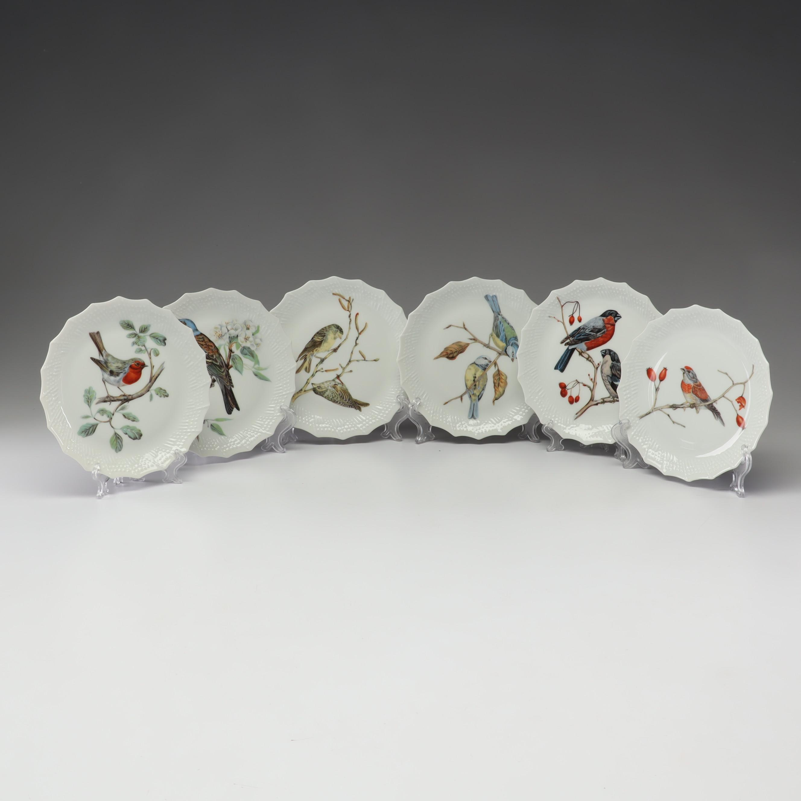 Limoges Porcelain Bird Motif Plates