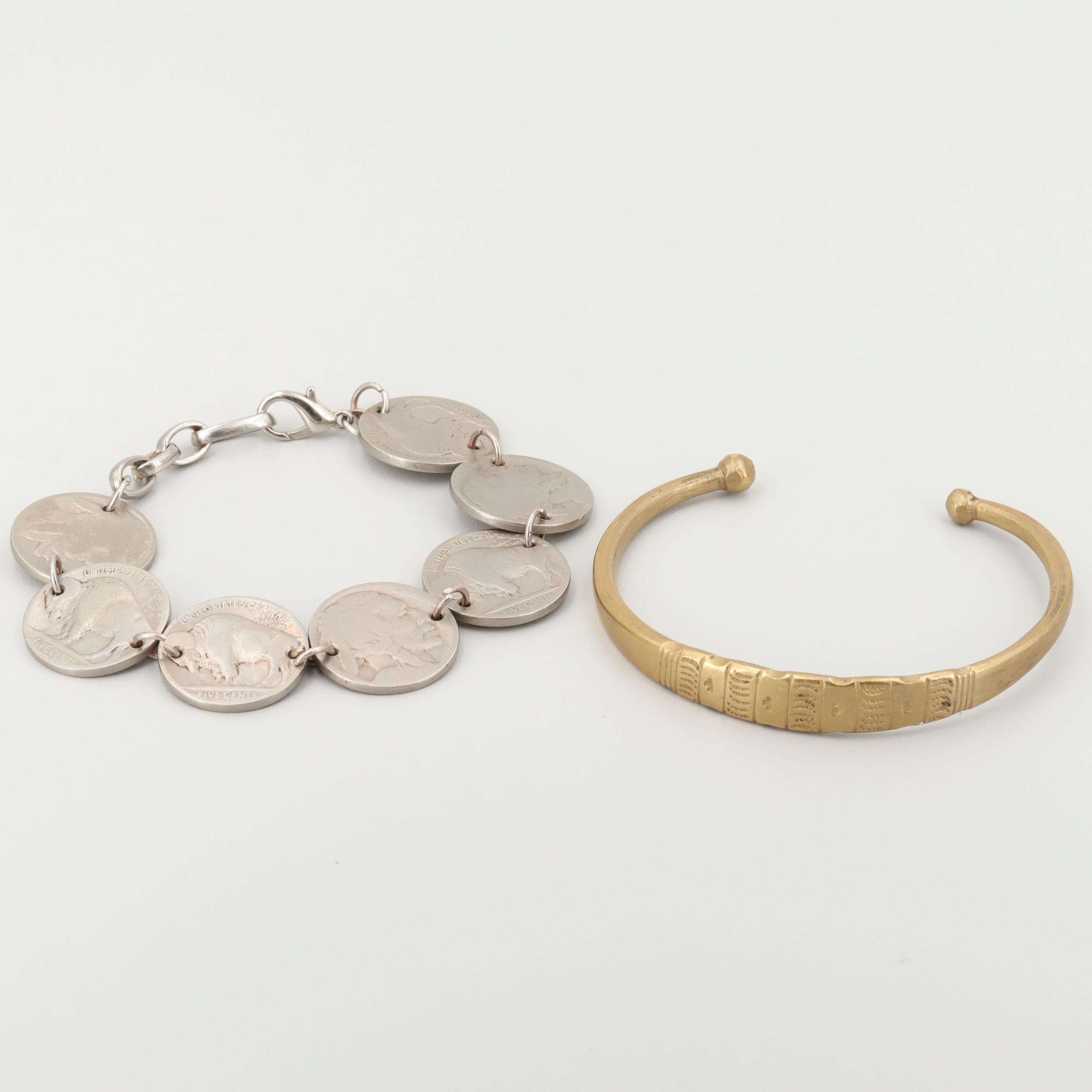 Silver Tone Buffalo Nickle and Bronze Tone Bracelets