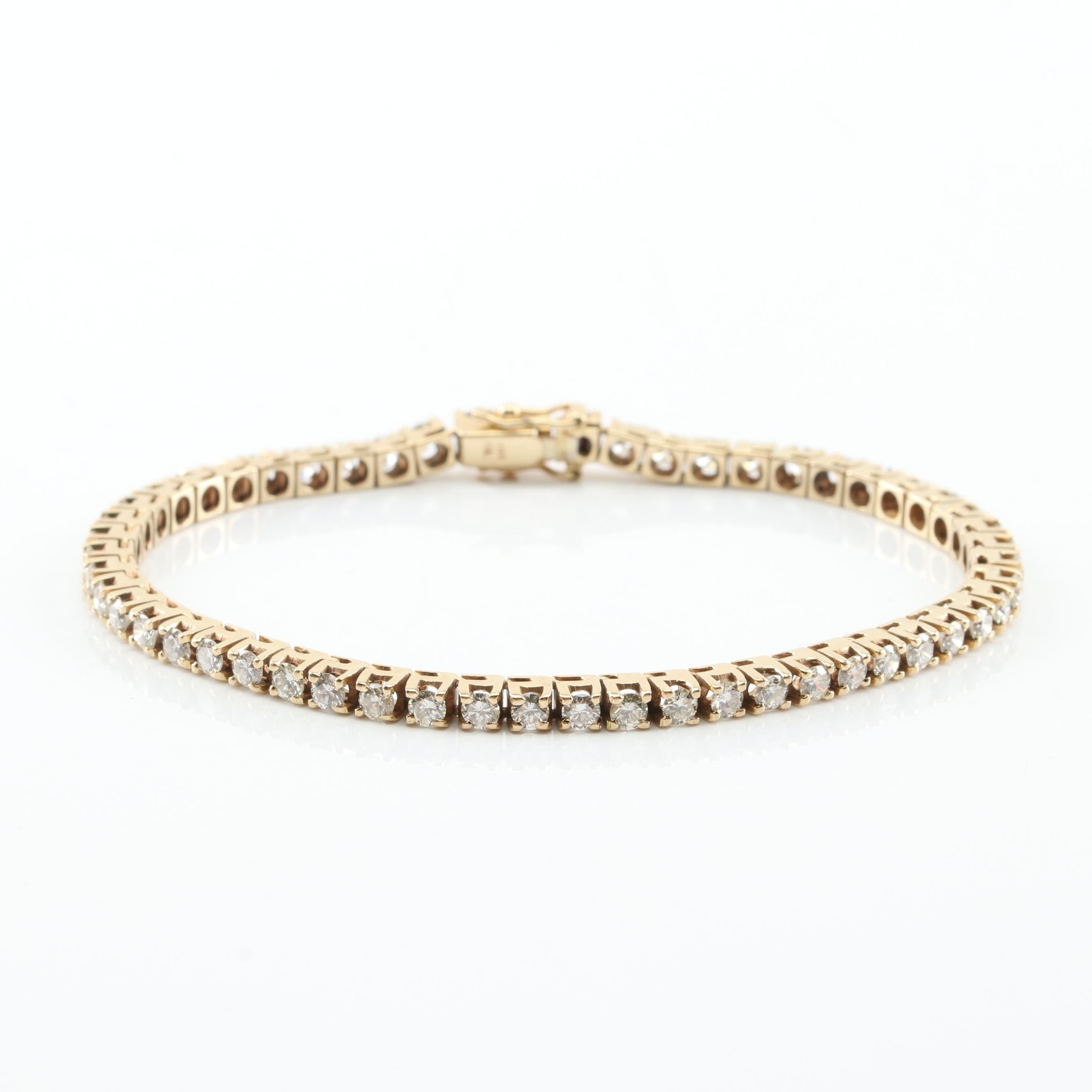 14K Yellow Gold 4.16 CTW Diamond Tennis Bracelet