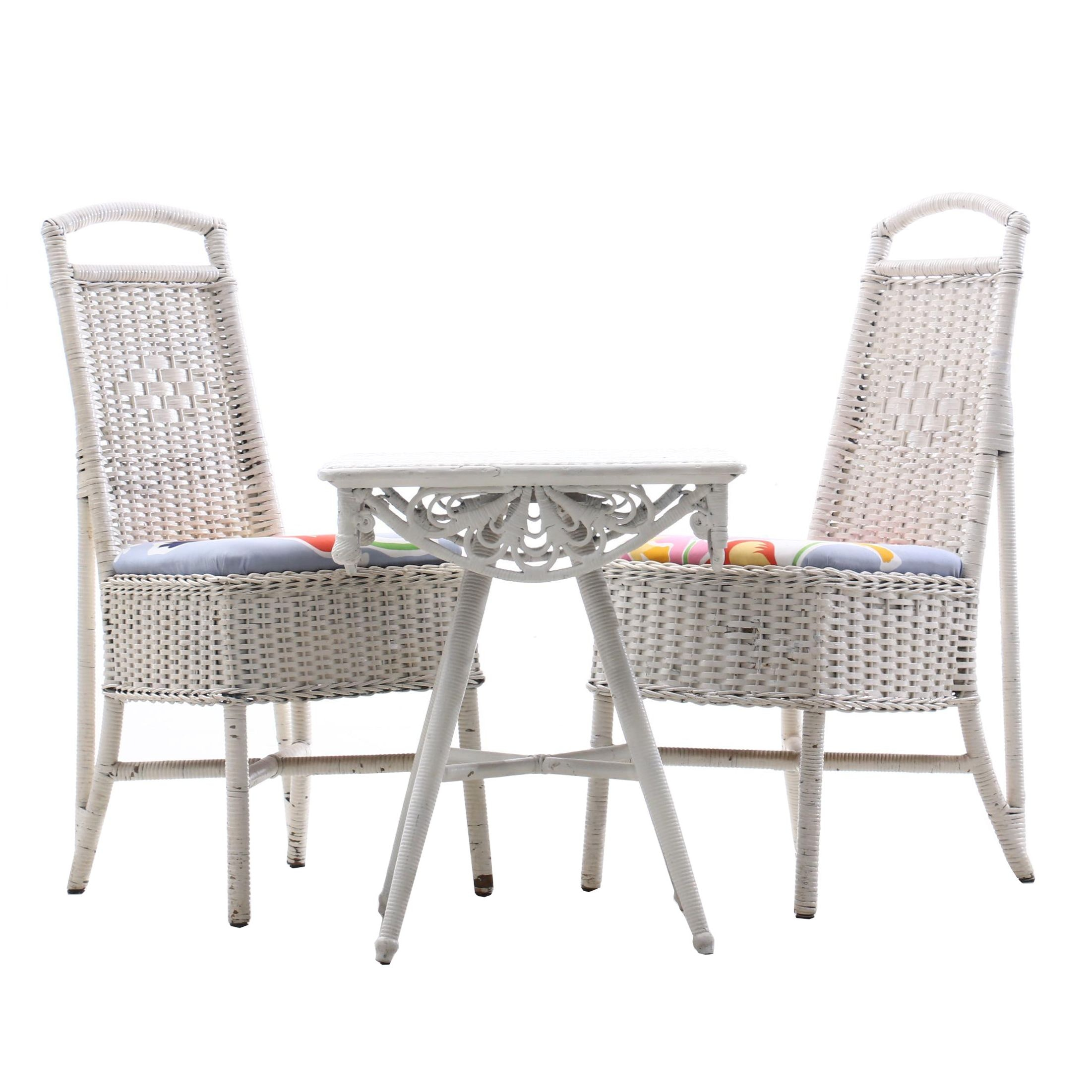 Wicker Chairs and Accent Table