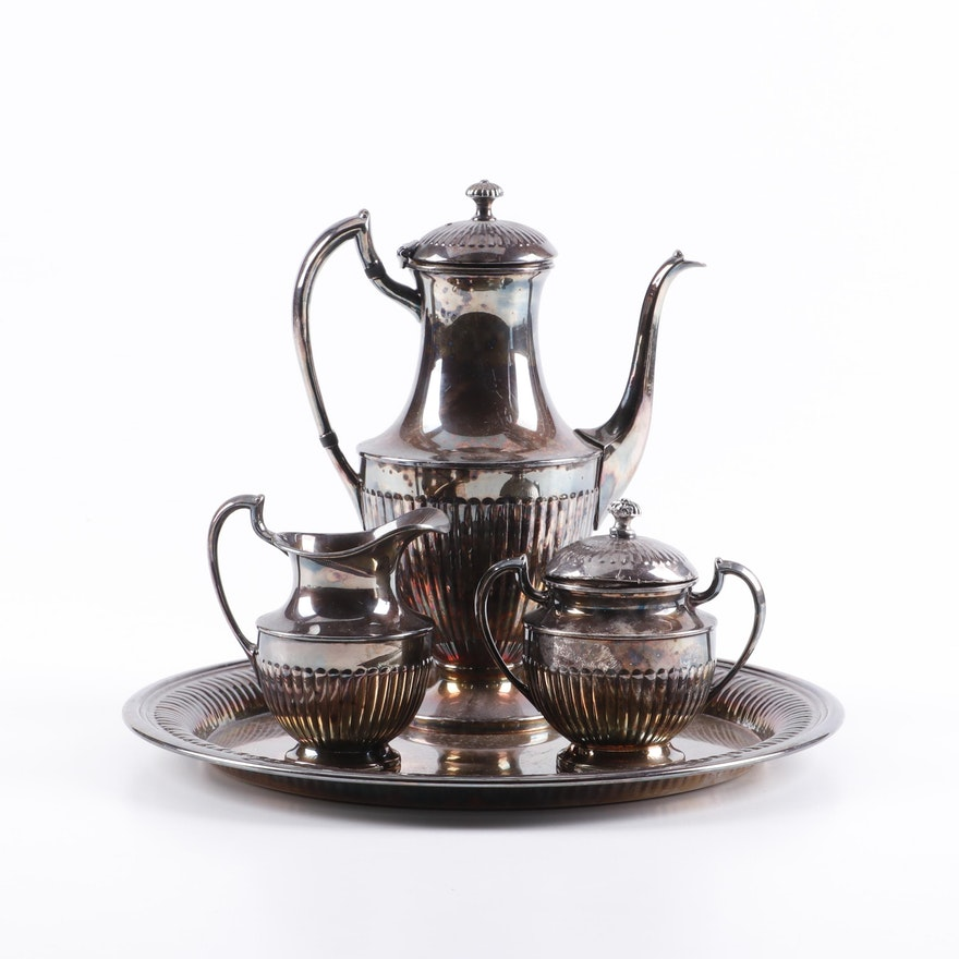 Crescent Silver Plate Tea Set and Tray