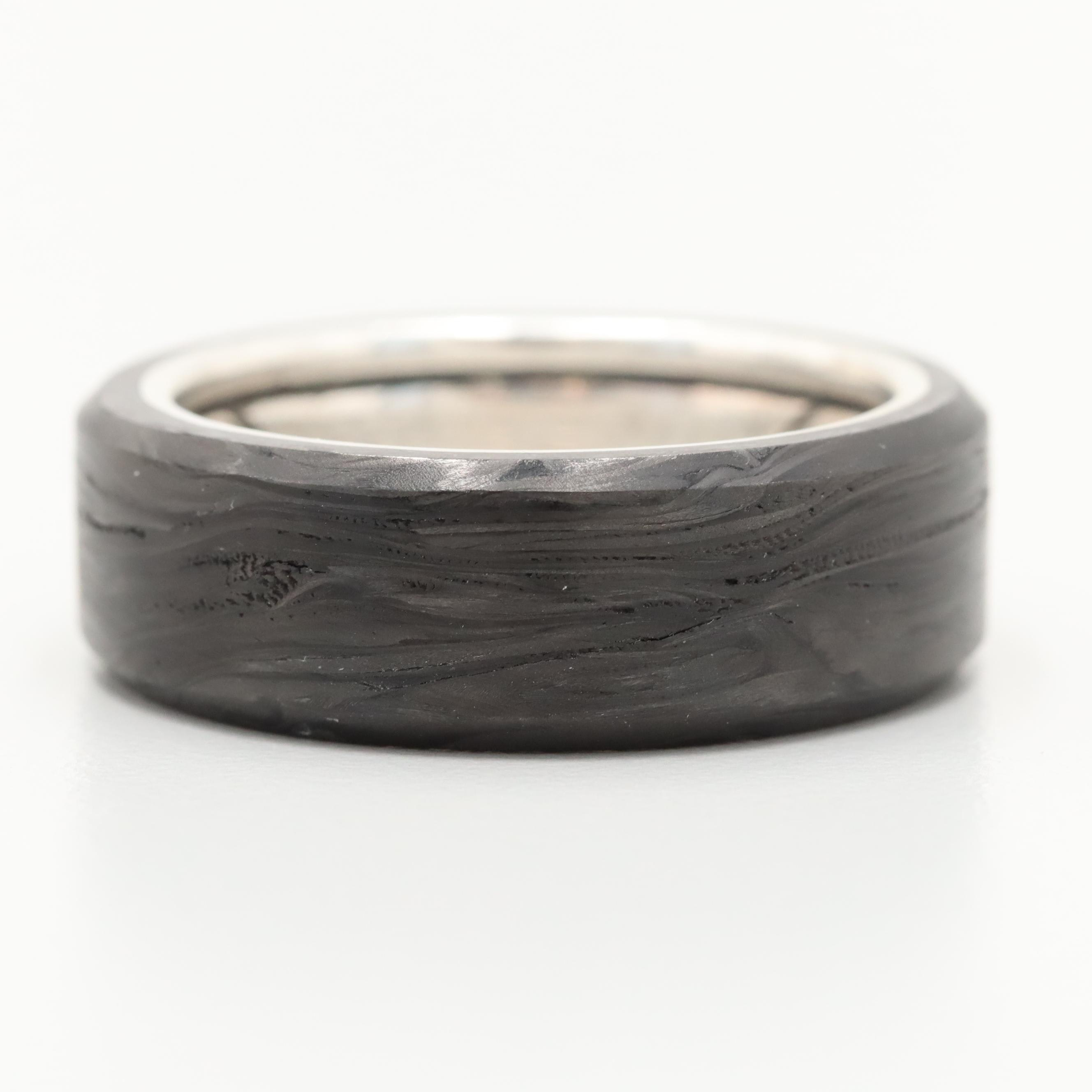 """David Yurman """"Forged Carbon"""" Collection Sterling Silver Carbon Beveled Band"""