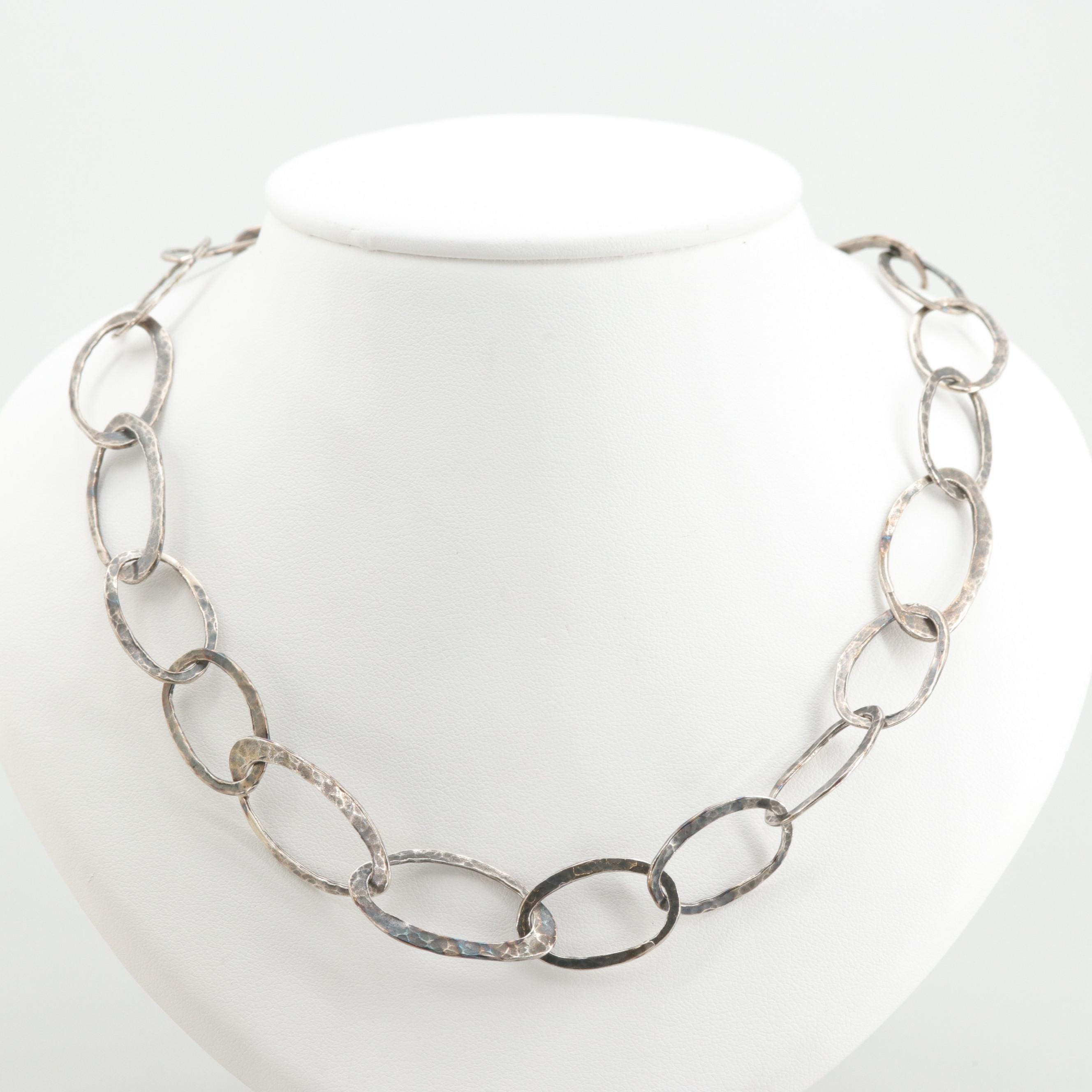 Silpada Sterling Silver Hammered Link Necklace
