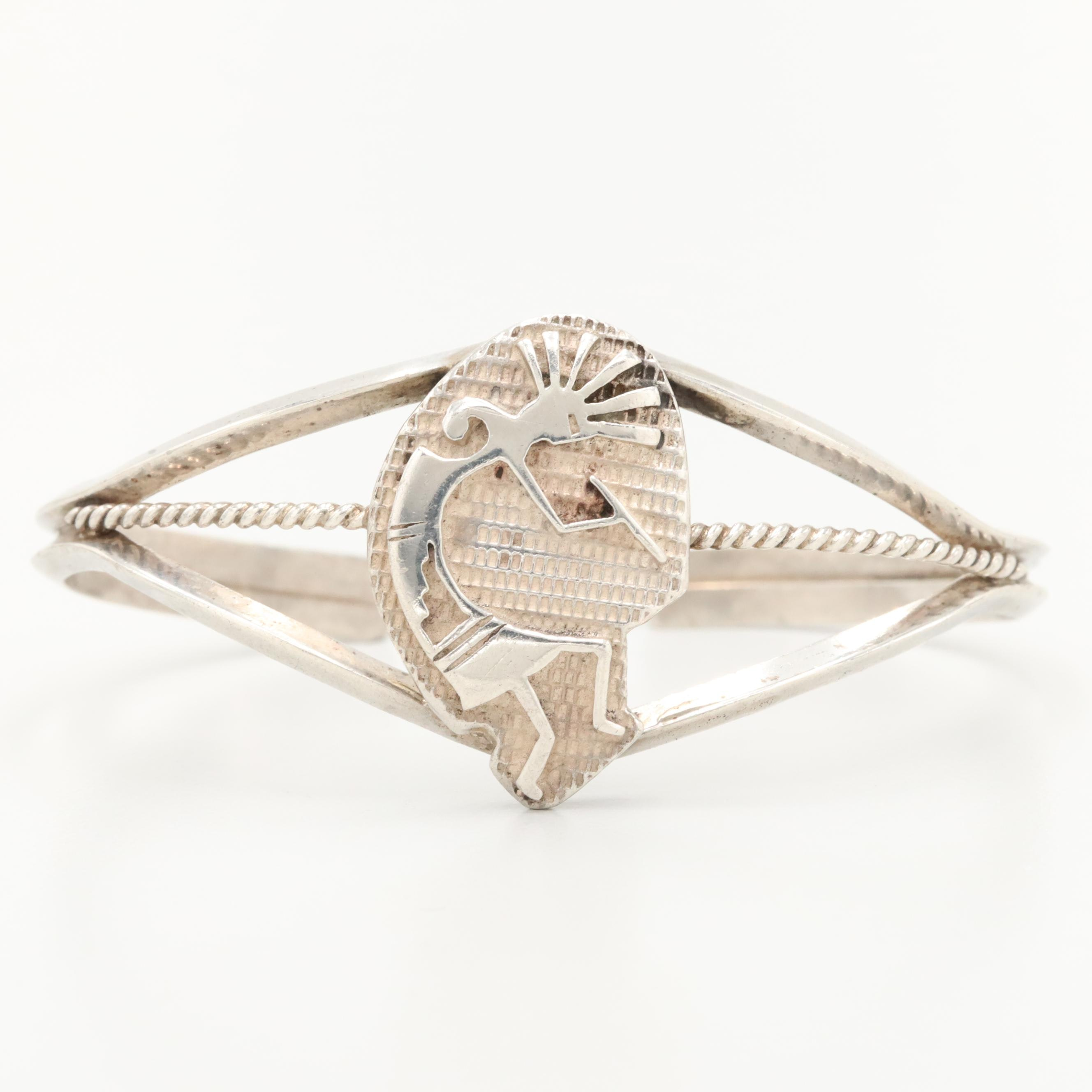 Southwestern Style Sterling Silver Cuff Bracelet with Kokopelli Accent
