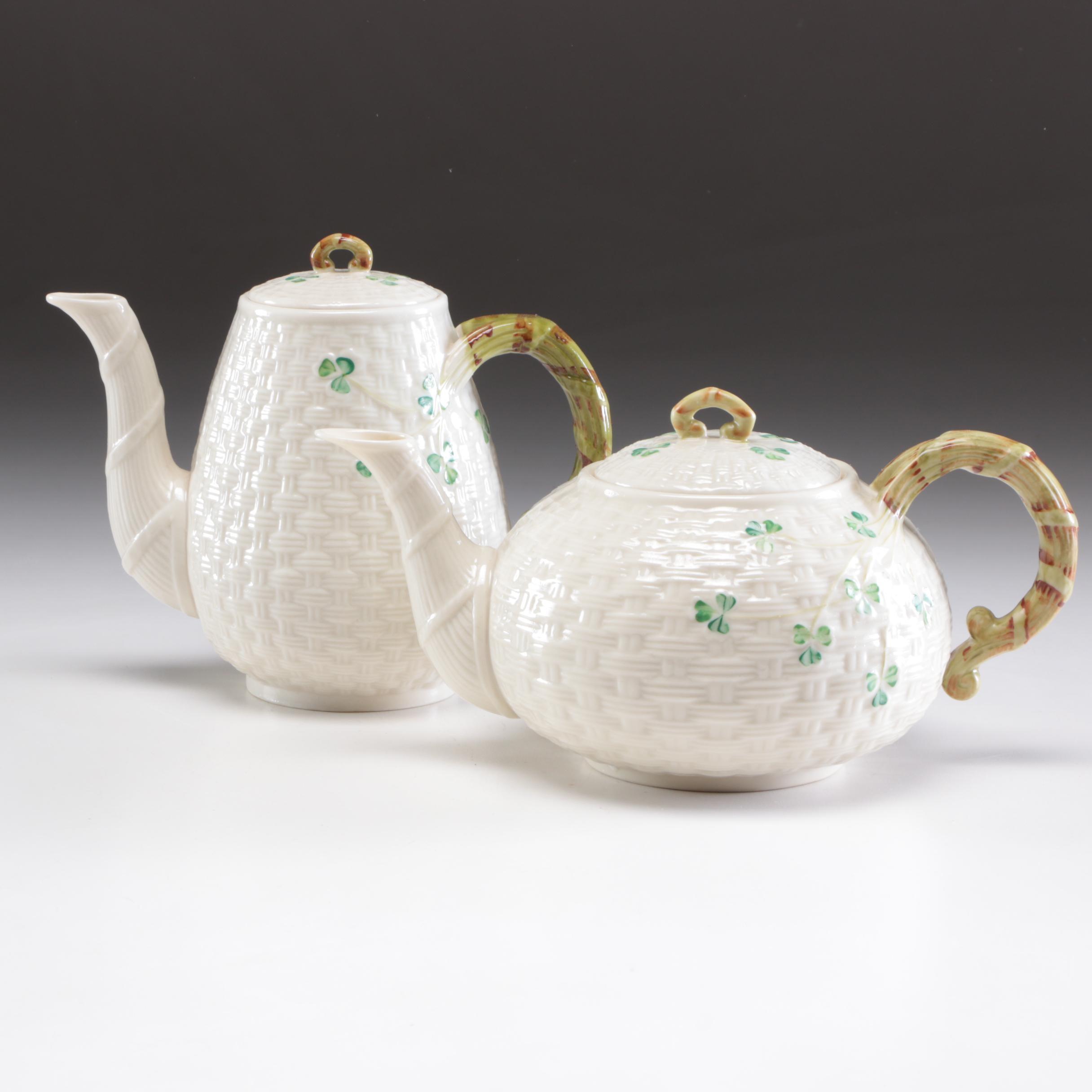 "Belleek ""Shamrock"" Porcelain Tea and Coffee Pots, Mid-Century"