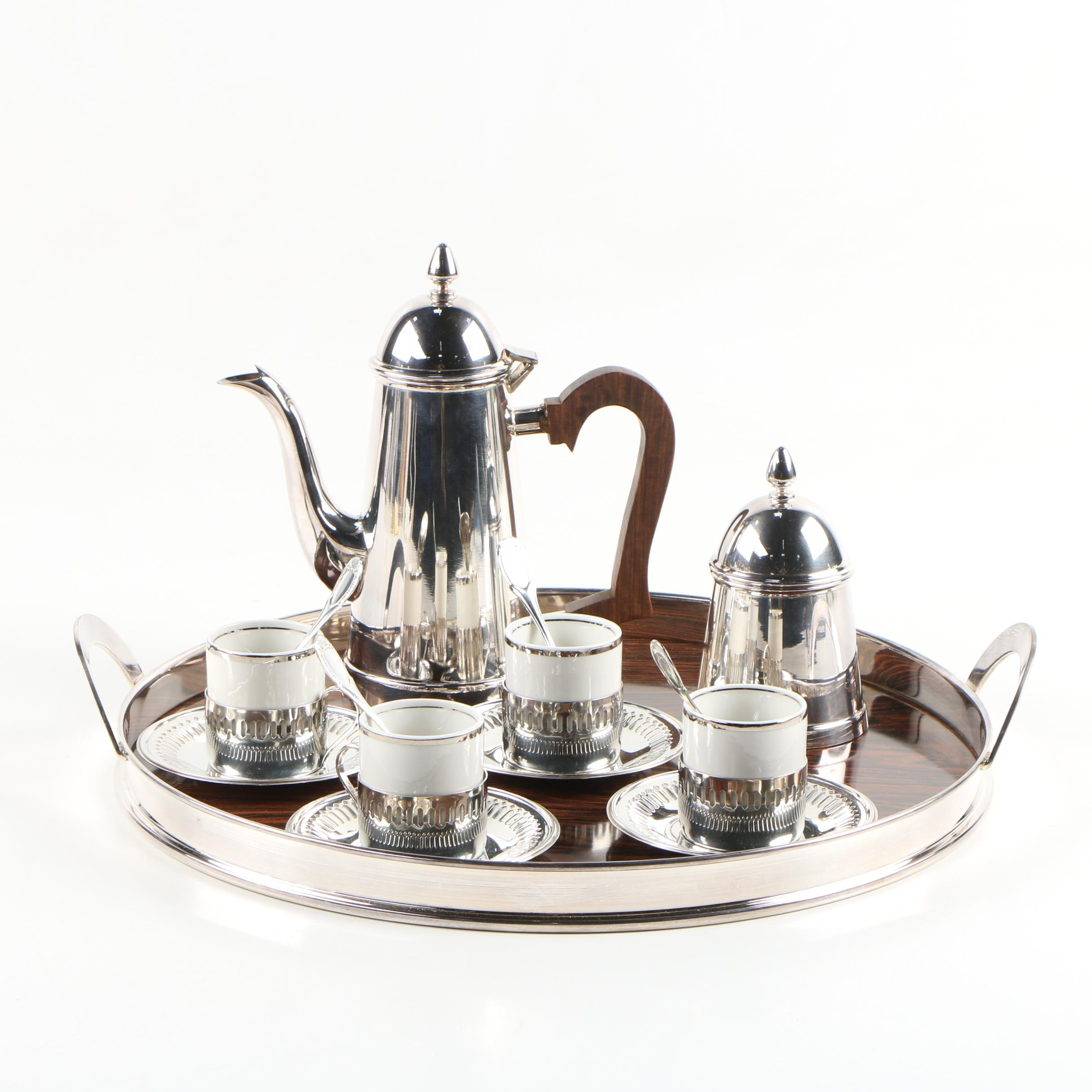 Bellini Silver Plate Demitasse Cup Sets with Coffee Pot, Tray, and Sugar Bowl