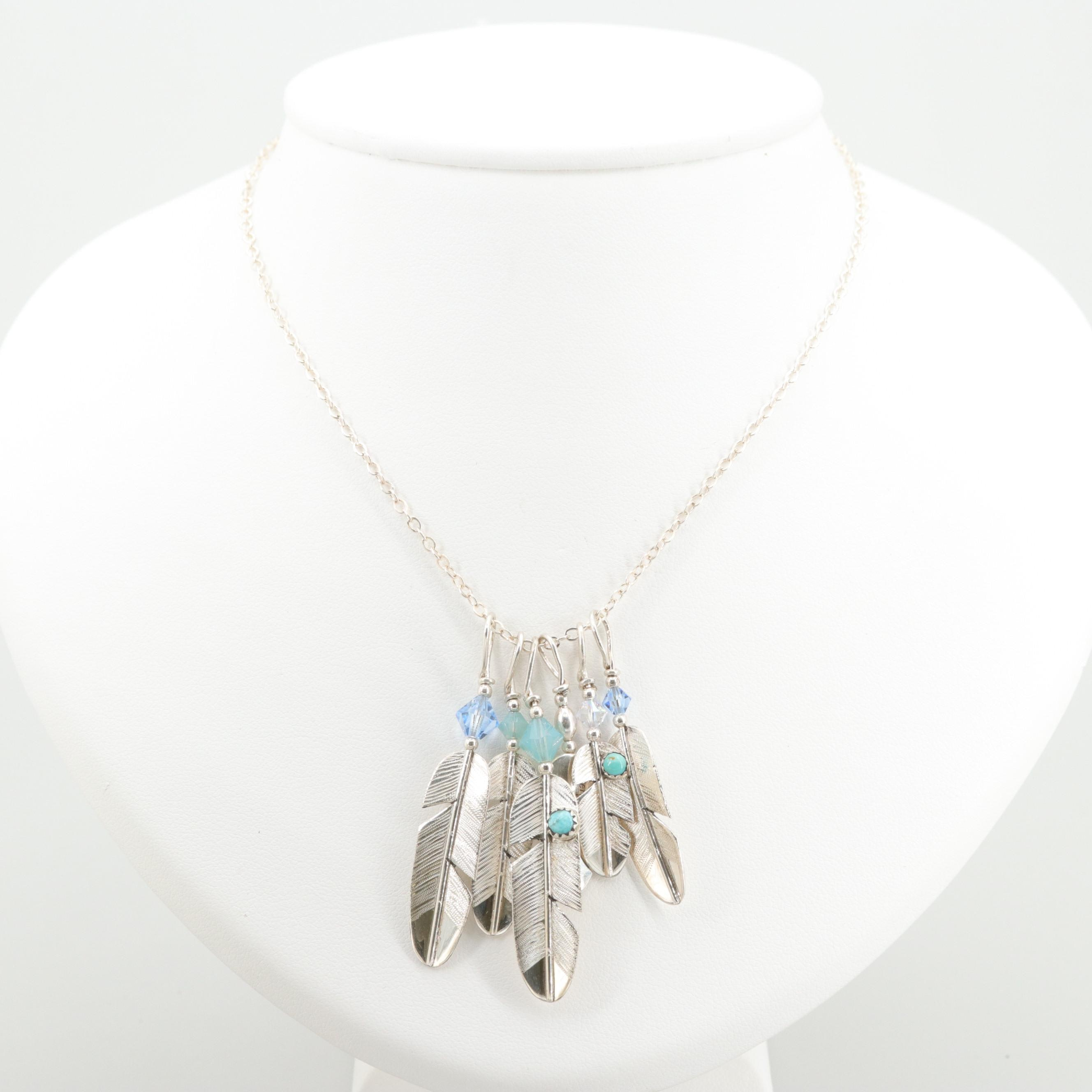 Southwestern Sterling Glass Crystal and Imitation Turquoise Feather Necklace