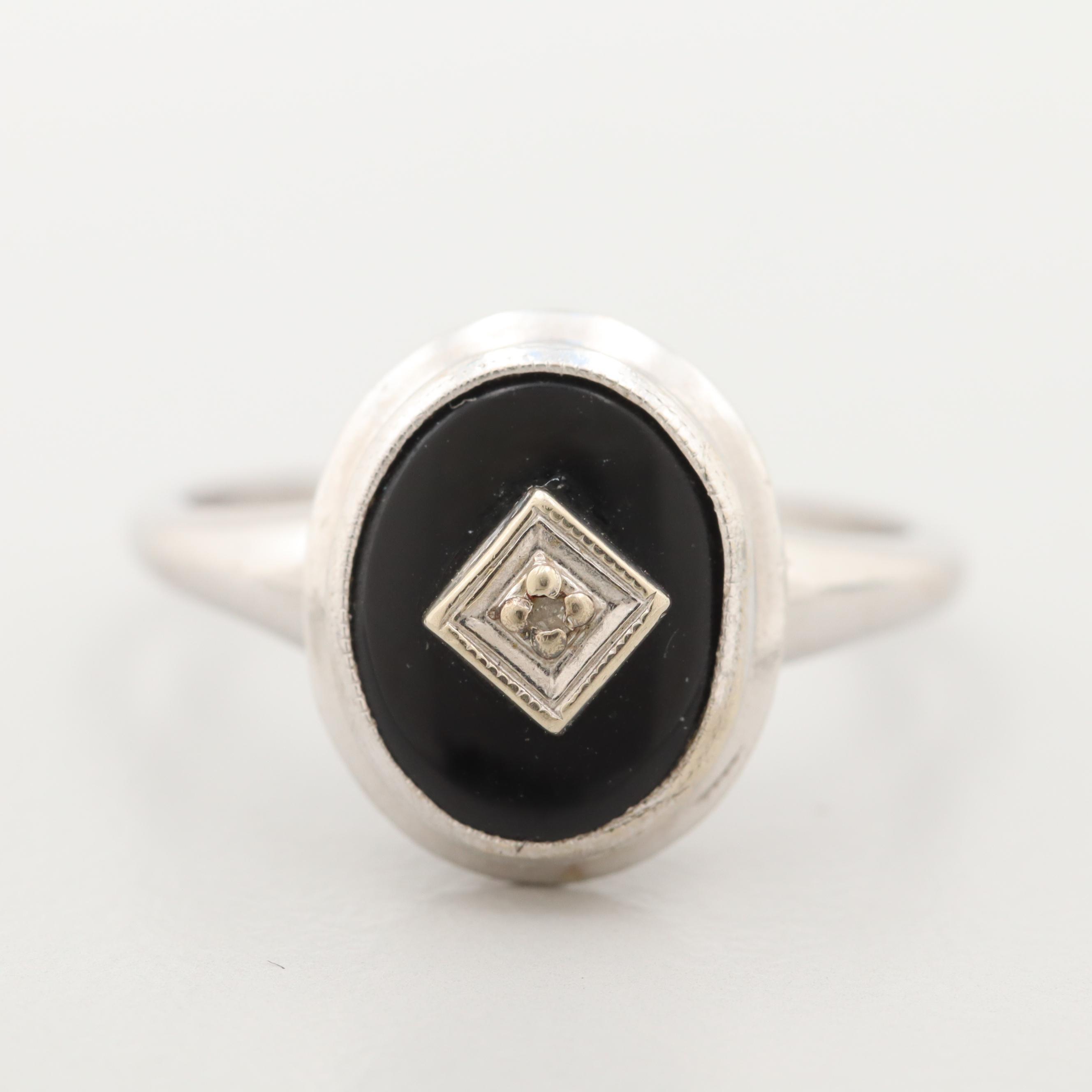 10K White Gold Diamond and Black Onyx Ring