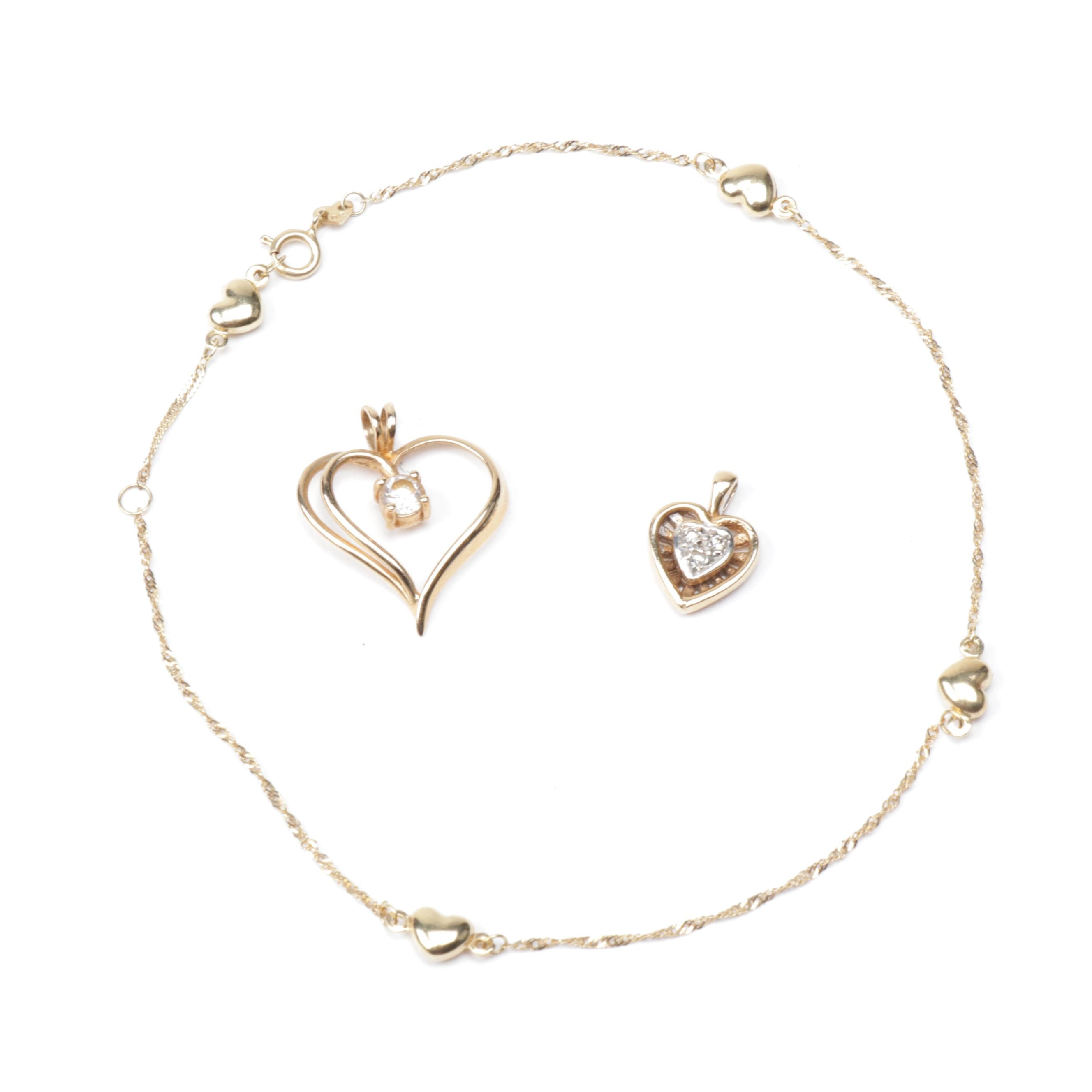 14K Yellow Gold Diamond and Cubic Zirconia Pendants and Ankle Bracelet