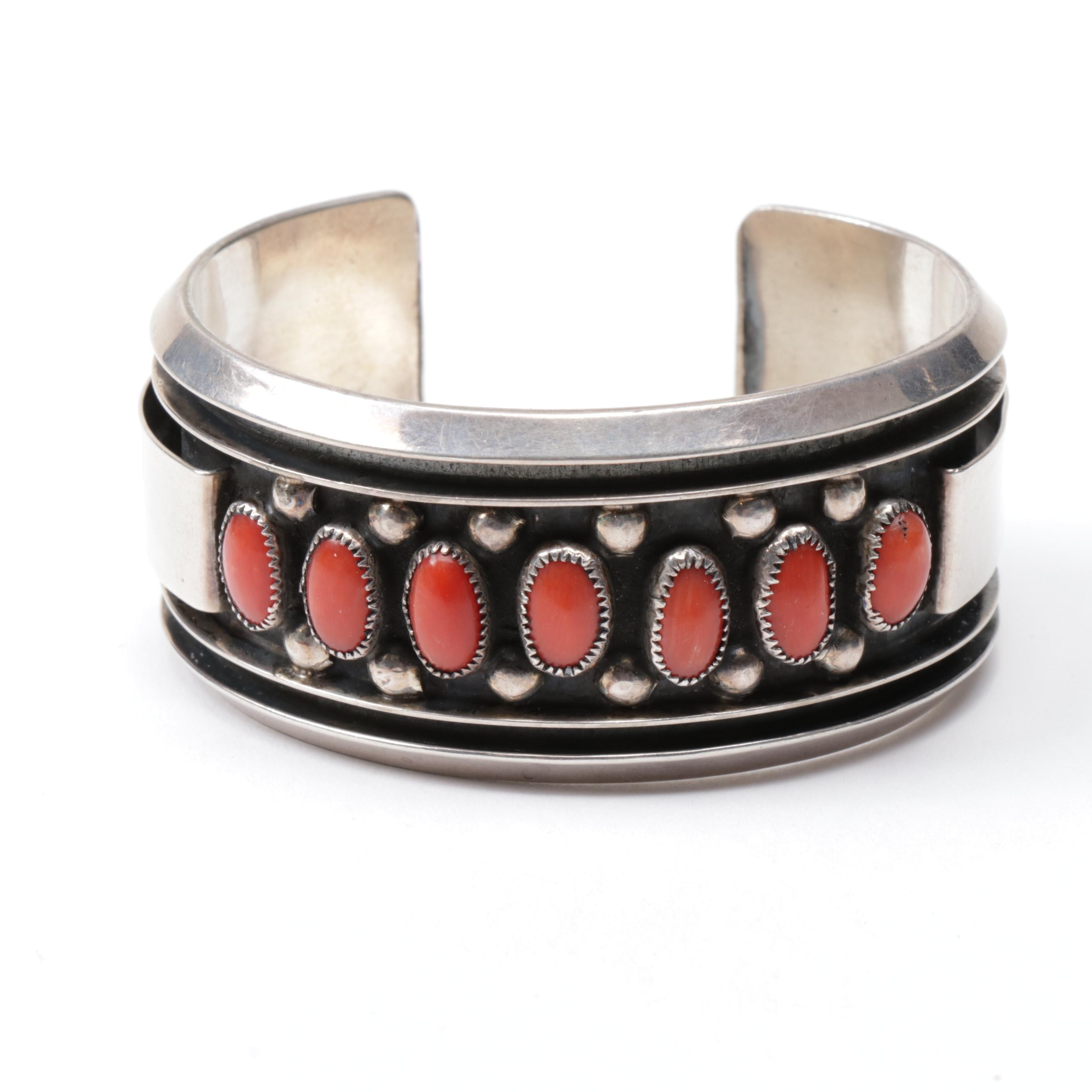 Sterling Silver and Coral Cuff Bracelet