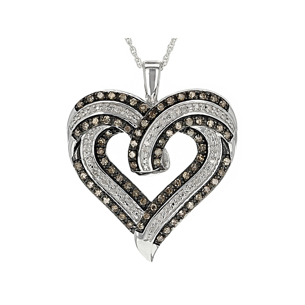 Diamond Sterling Silver Pendant with Chain