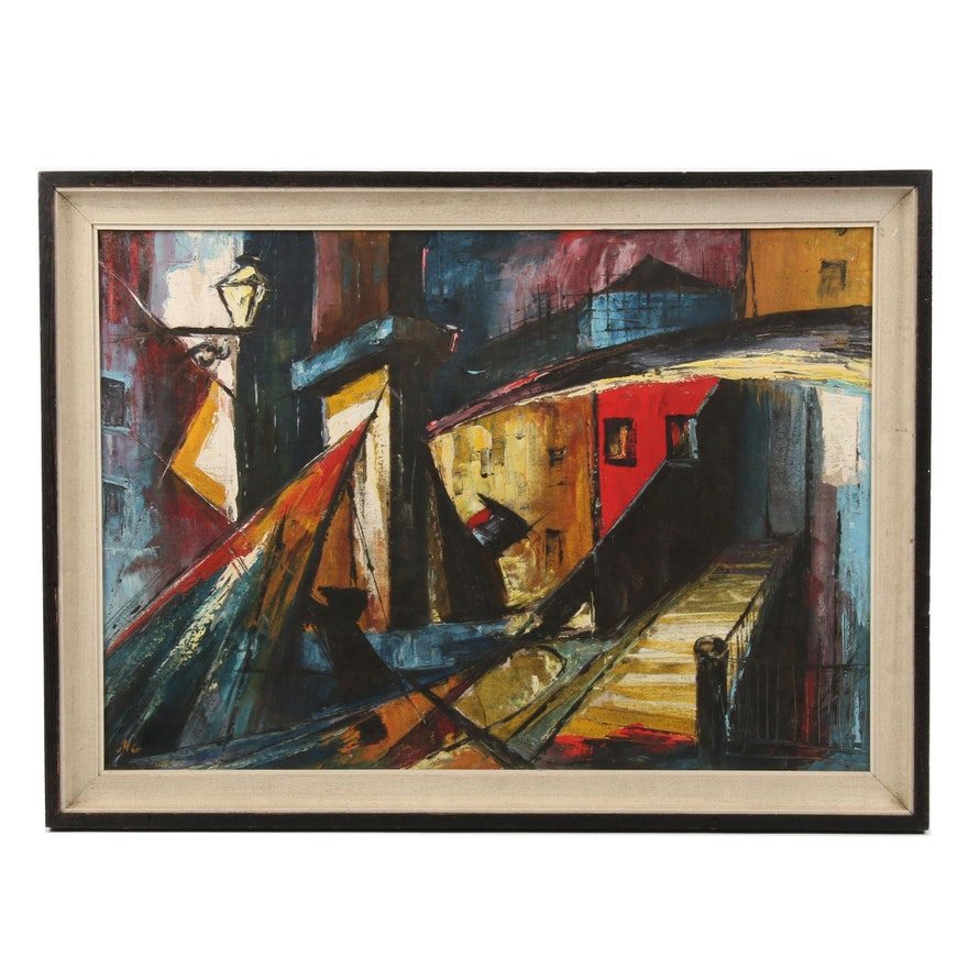 Abstracted Evening Street Scene Oil Painting