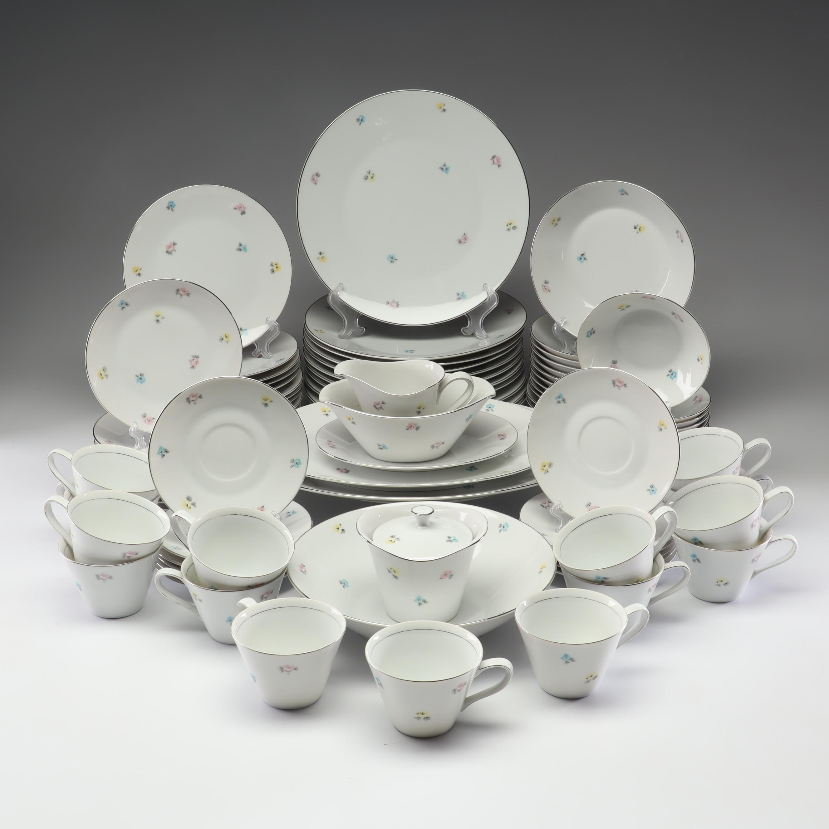 """Arlen Fine China """"Spice"""" Dinner and Tea Set with Silver Trim"""