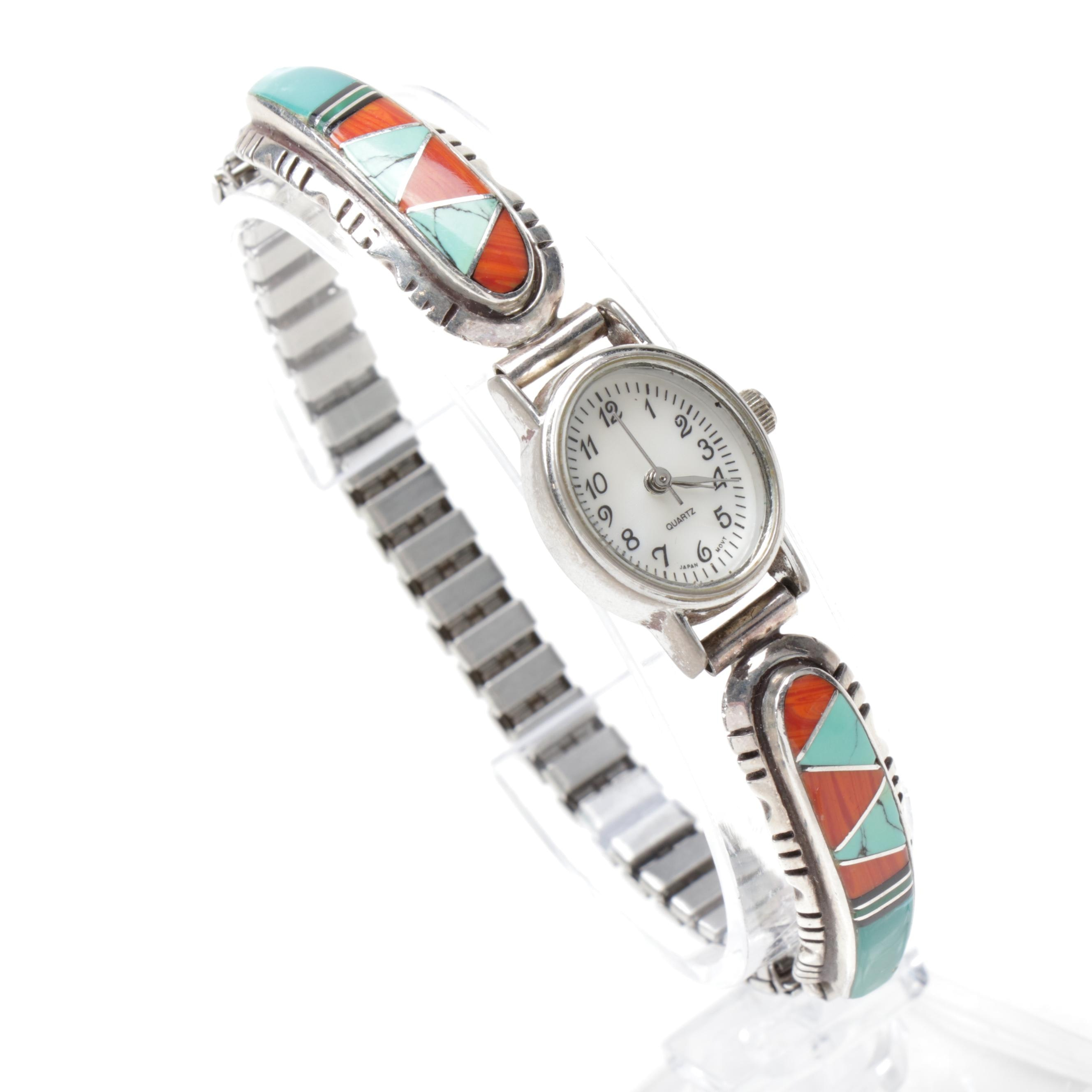Sterling Silver, Metal, Turquoise, and Coral Southwest Style Watch