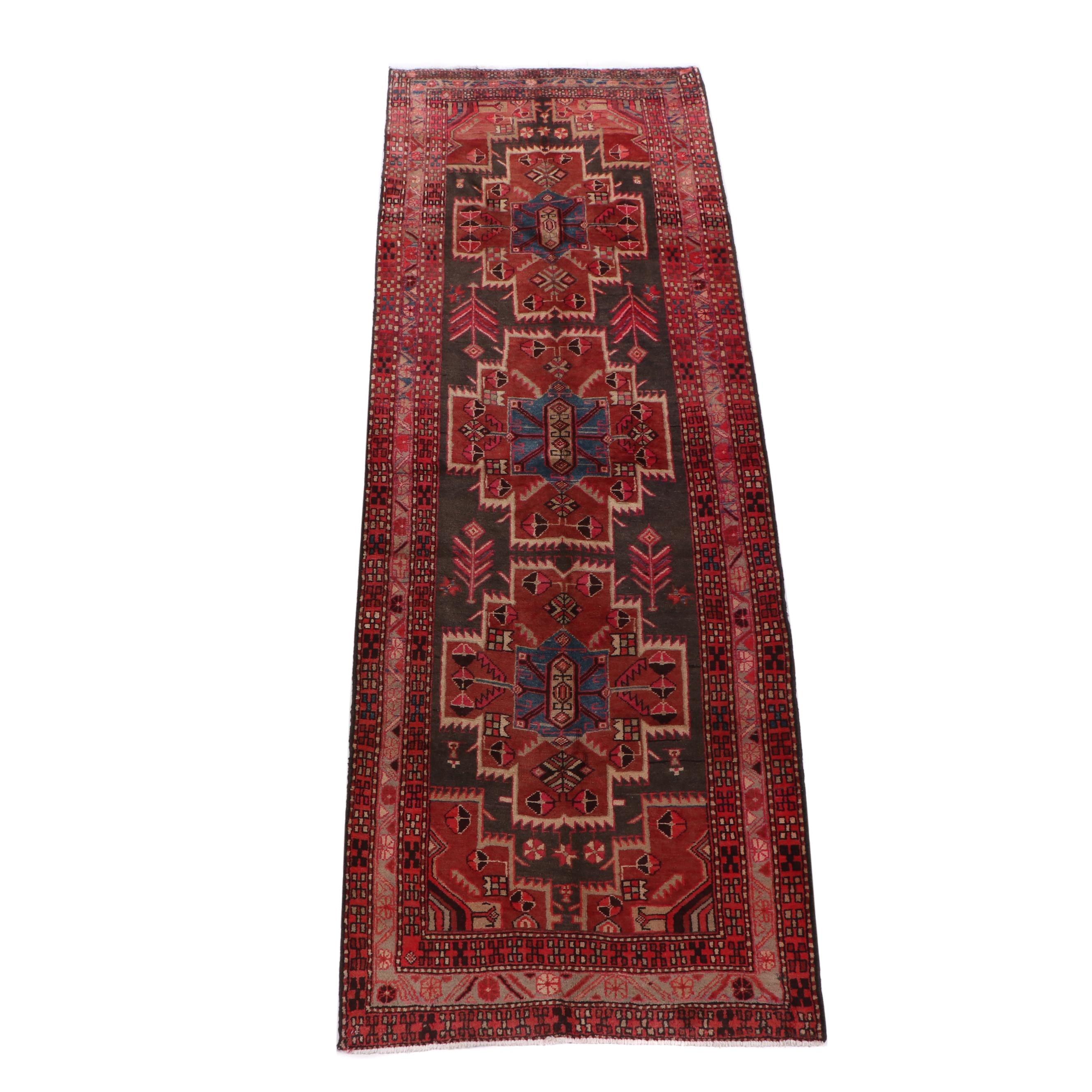 Hand-Knotted Afshar Wool Carpet Runner