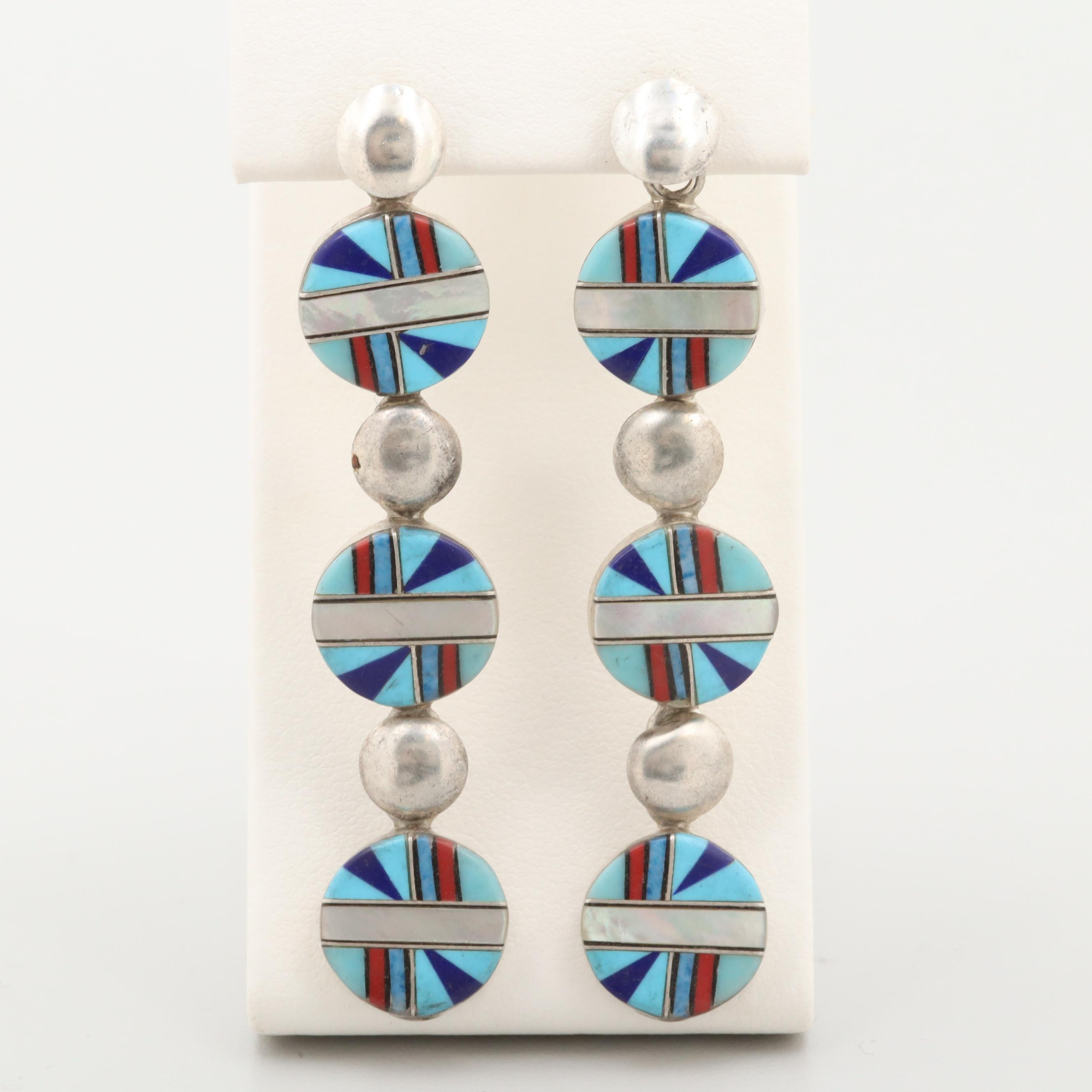Southwestern Style Sterling Turquoise, Lapis Lazuli and Mother of Pearl Earrings