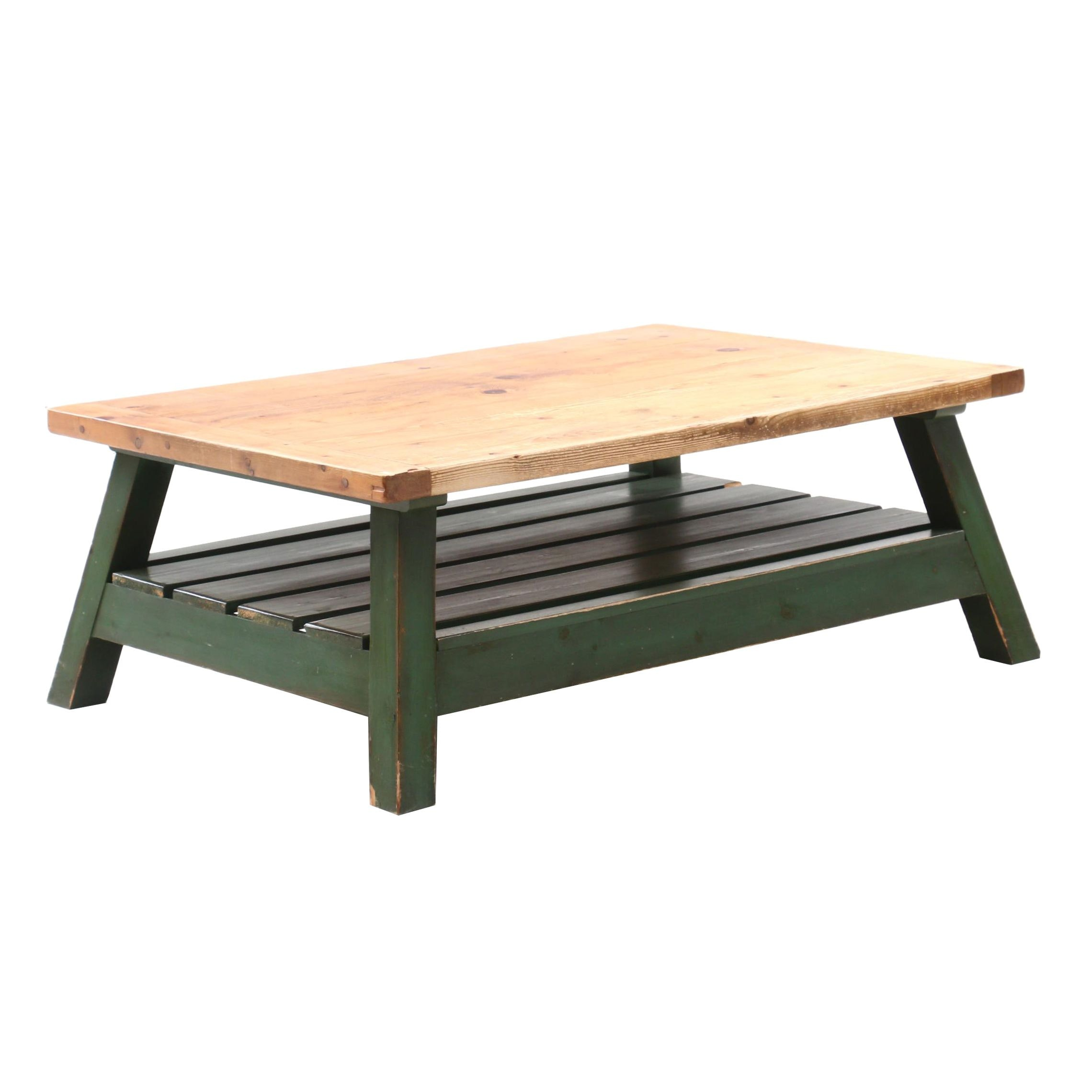 Rustic Style Pine and Painted Coffee Table From Arhaus Furniture