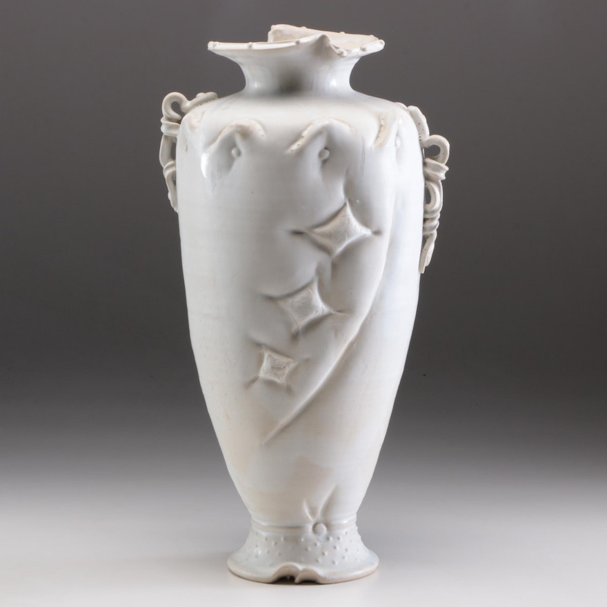 Larry Watson Thrown and Altered Sculptural Porcelain Vase, Late 20th Century