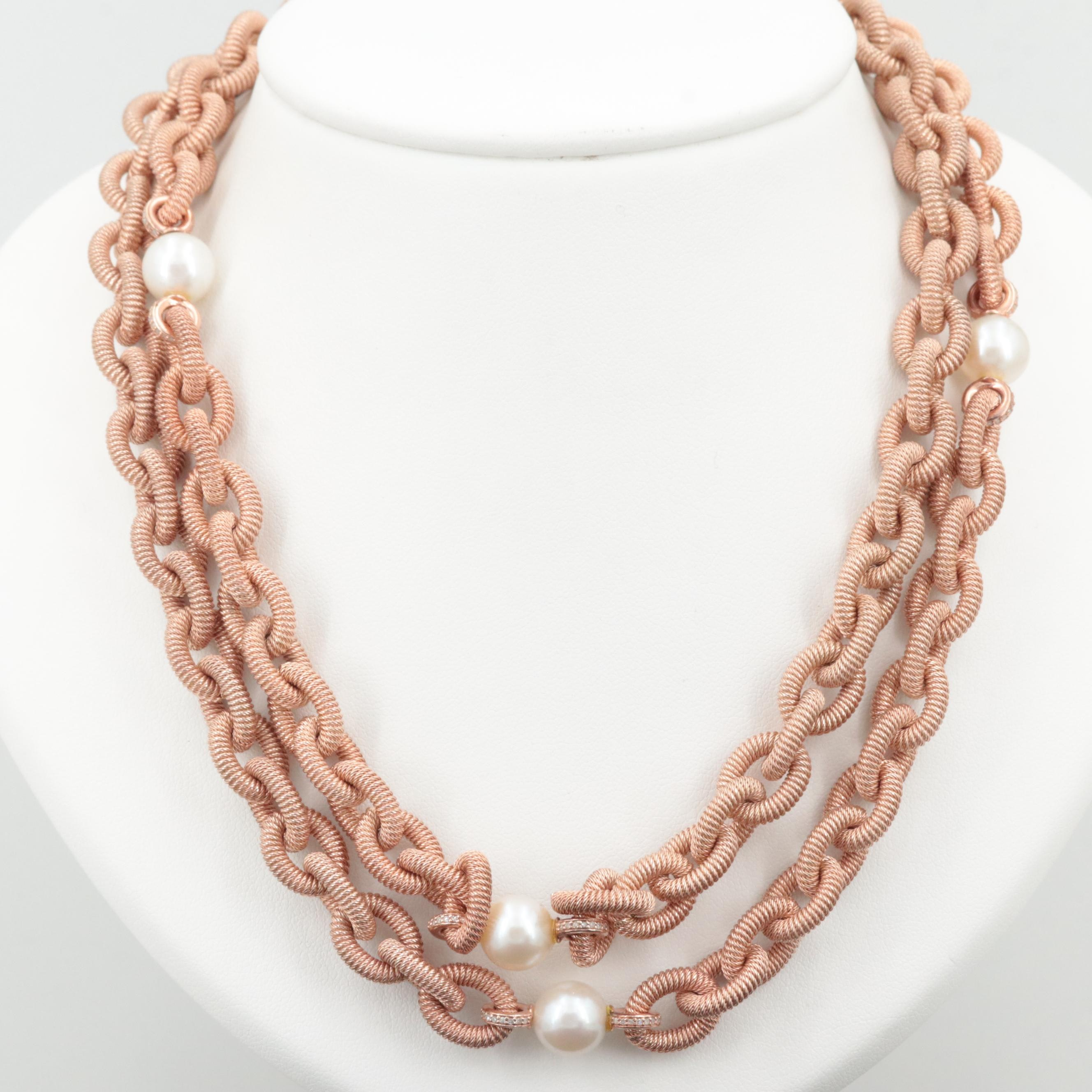 Gold Wash on Sterling Silver Cultured Pearl Cable Necklace