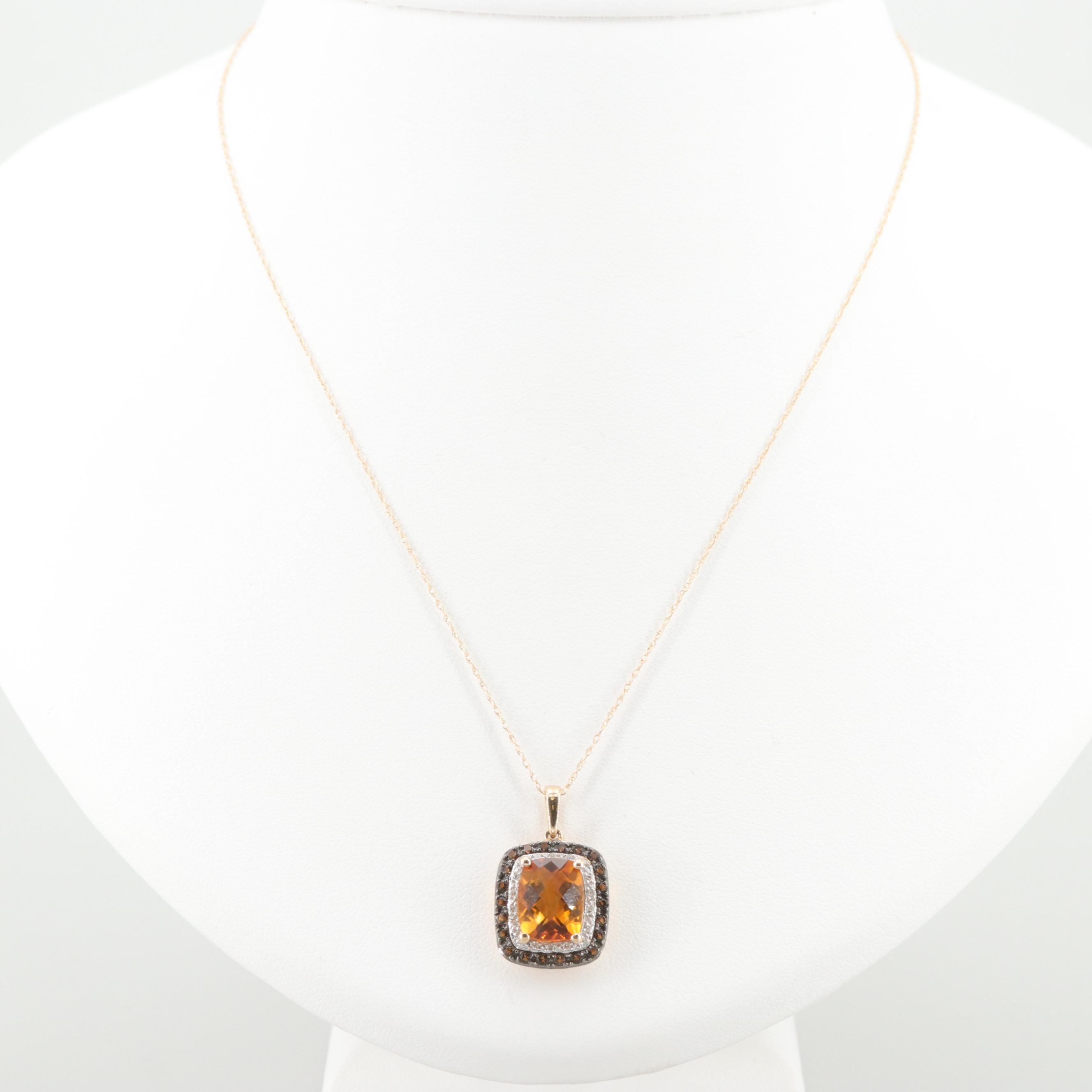 10K Yellow Gold Citrine, Diamond and Smoky Quartz Pendant Necklace