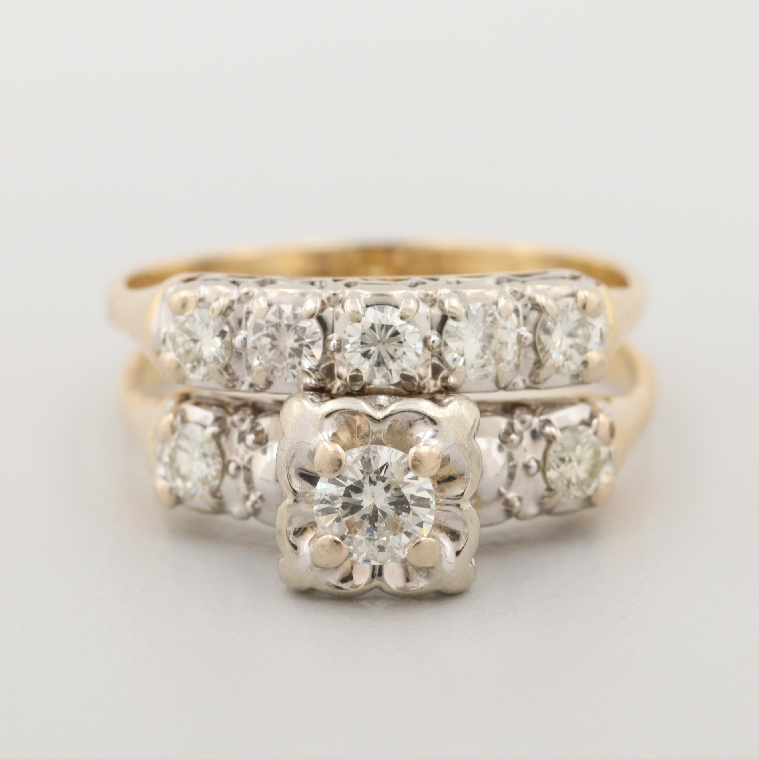Vintage 14K Yellow Gold Diamond Bridal Ring with White Gold Accent